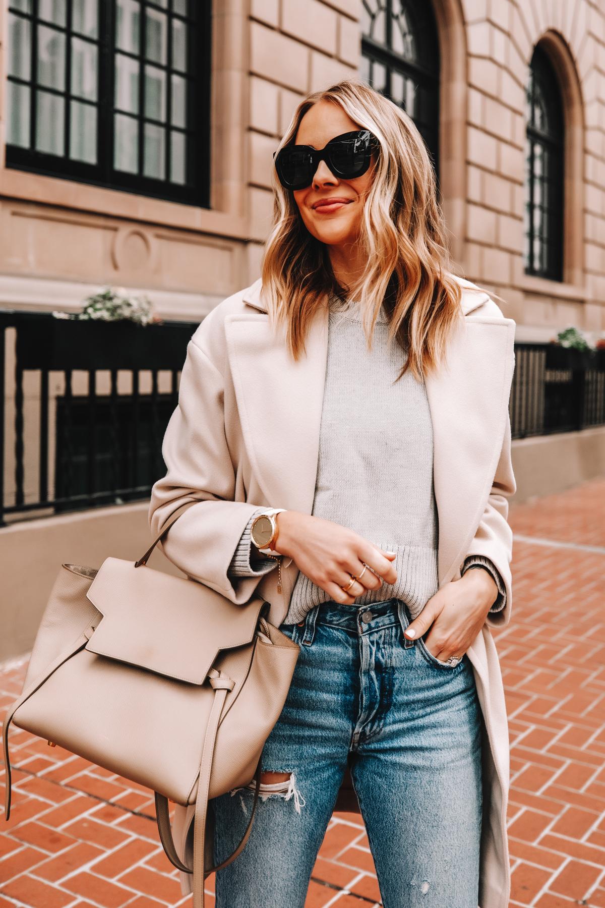 Fashion Jackson Wearing Topshop Beige Coat Grey Sweater Ripped Jeans Celine Belt Bag Garmin Vivomove Luxe Watch