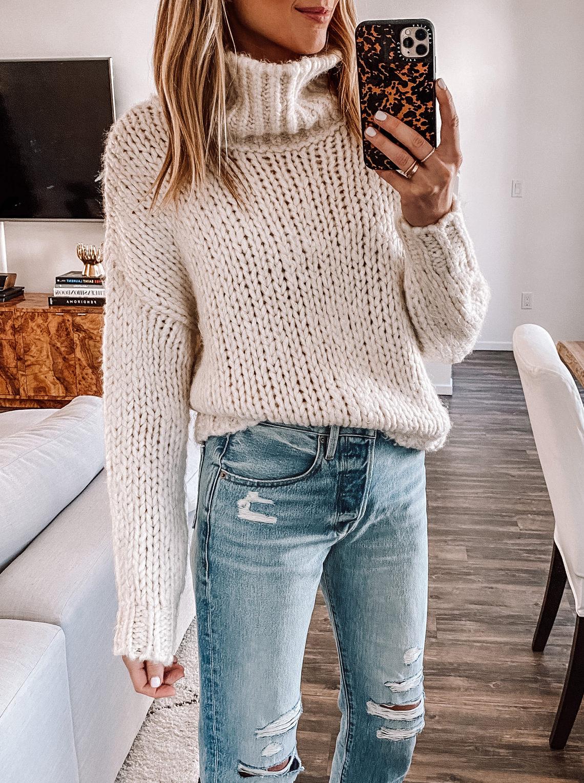 Fashion Jackson Wearing Topshop Chunky Knit Sweater Ripped Denim Jeans