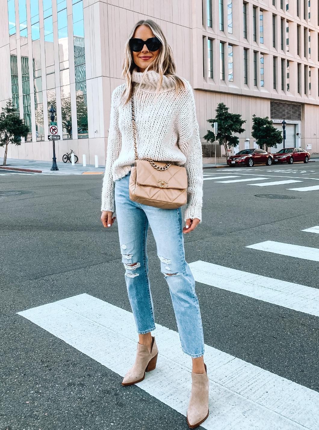 Fashion Jackson Wearing Topshop Chunky Sweater Frame Ripped Jeans Tan Suede Booties Chanel 19 Dark Beige Handbag