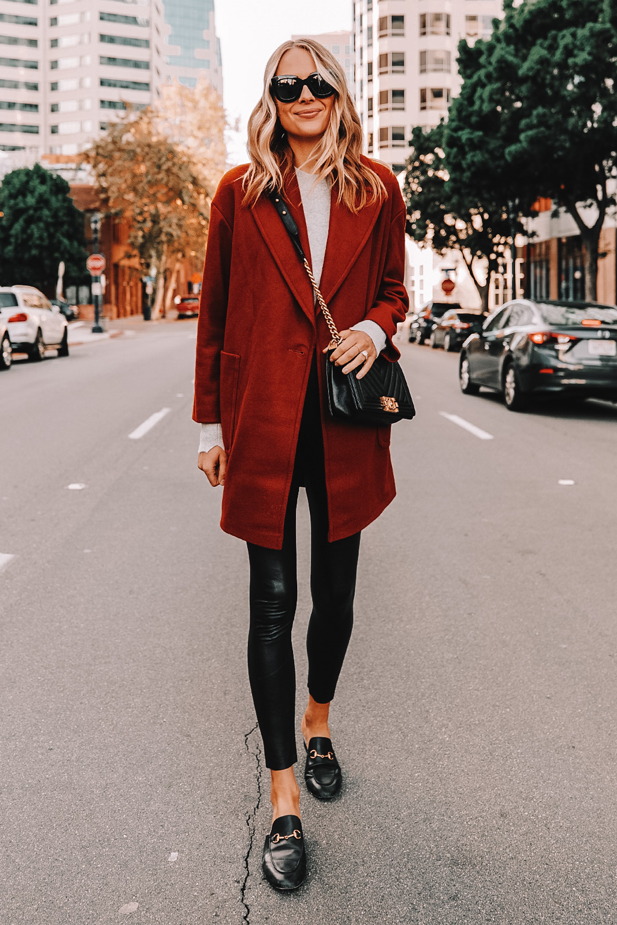 Fashion Jackson Wearing Topshop Red Coat Commando Faux Leather Leggings Gucci Mules