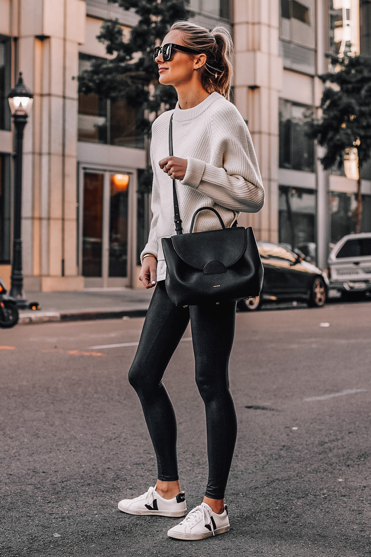 Fashion Jackson Wearing White Sweater Spanx Faux Leather Leggings Veja Sneakers