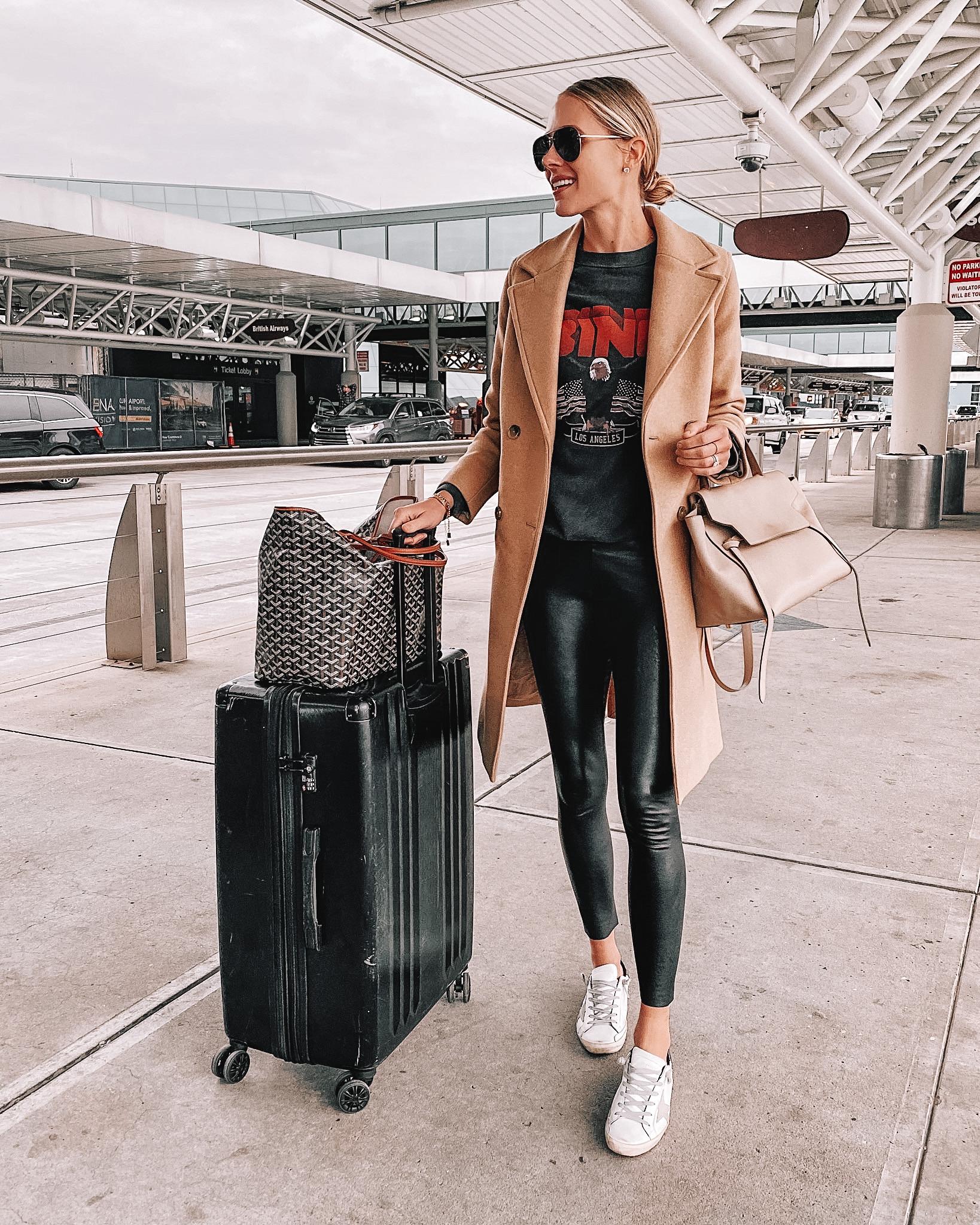 Fashion Jackson Wearing Camel Coat Anine Bing Sweatshirt Spanx Faux Leather Leggings Golden Goose Sneakers Calpak Luggage Airport Style Travel Outfit