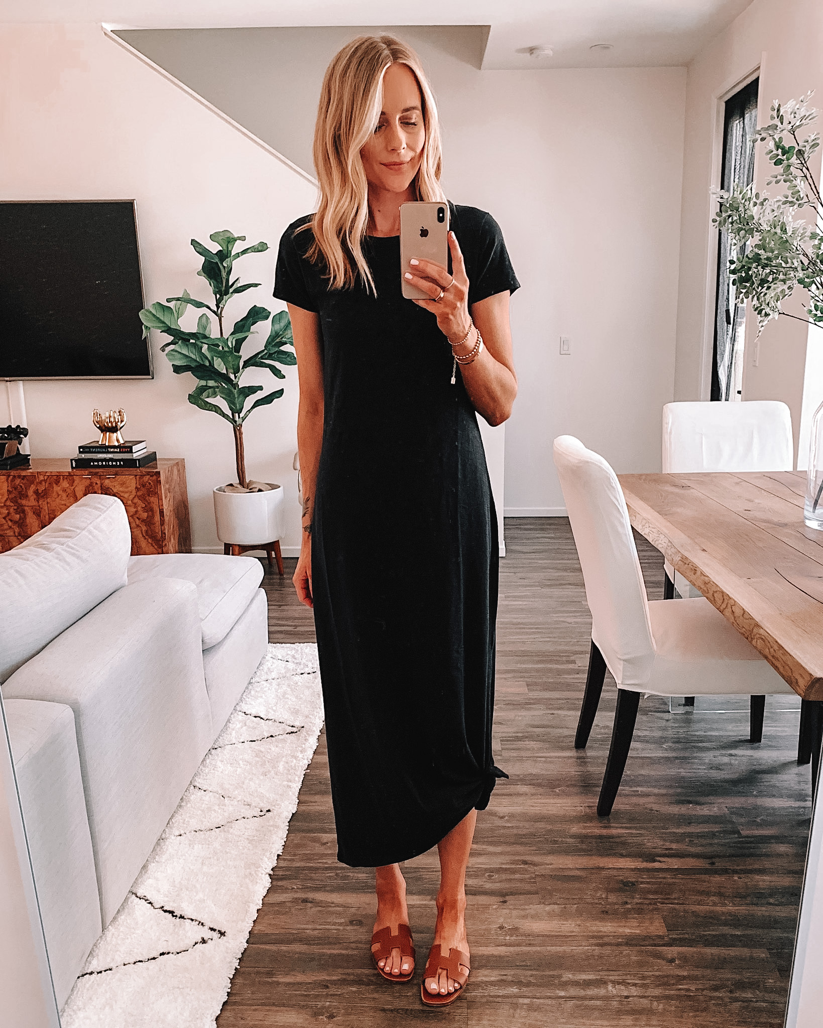 Fashion Jackson Wearing Amazon Fashion Black Maxi T-Shirt Dress
