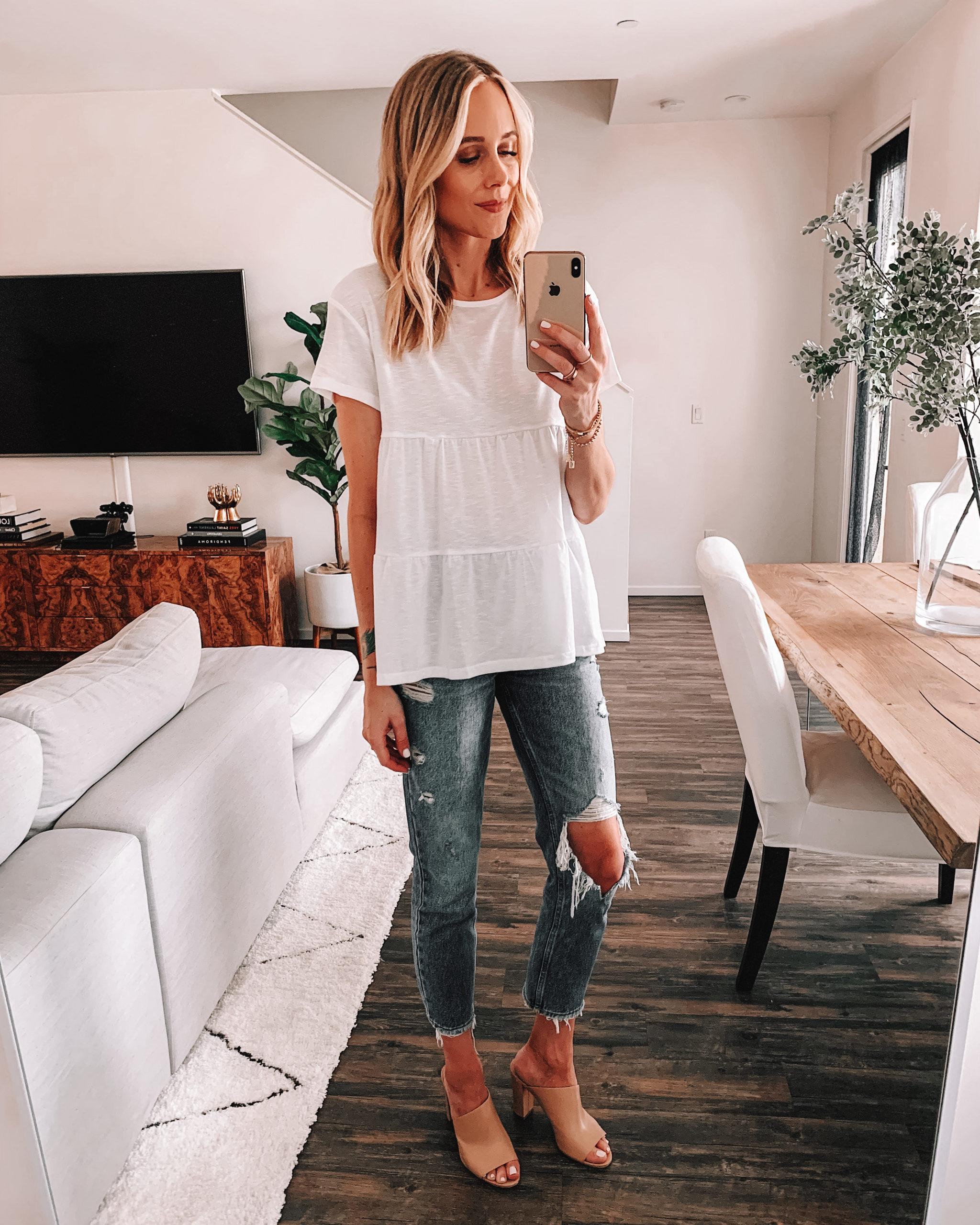 Fashion Jackson Wearing Amazon Fashion White Peplum Tshirt Ripped Jeans