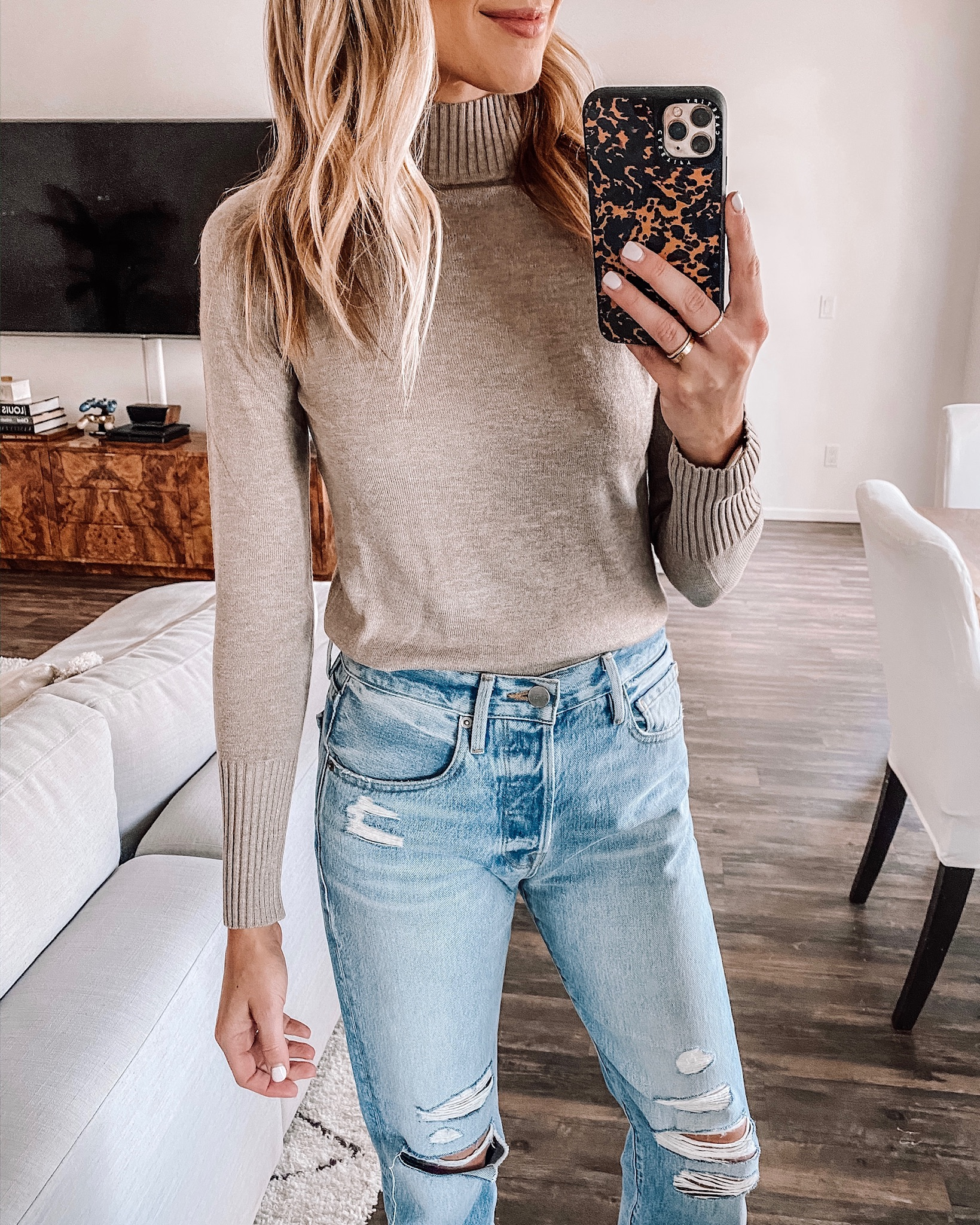 Taupe Mockneck Sweater