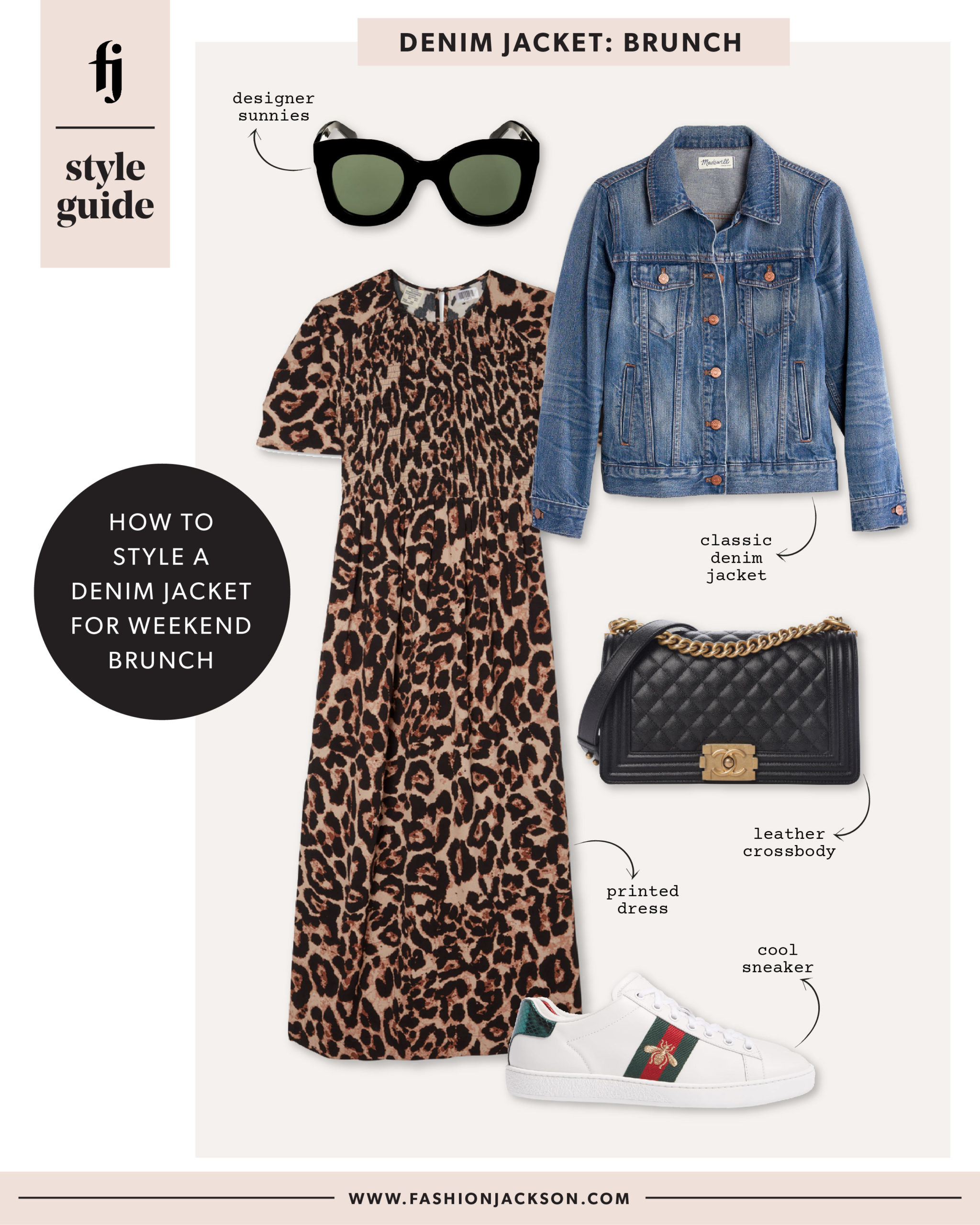 Fashion Jackson Denim Jacket Leopard Dress Outfit