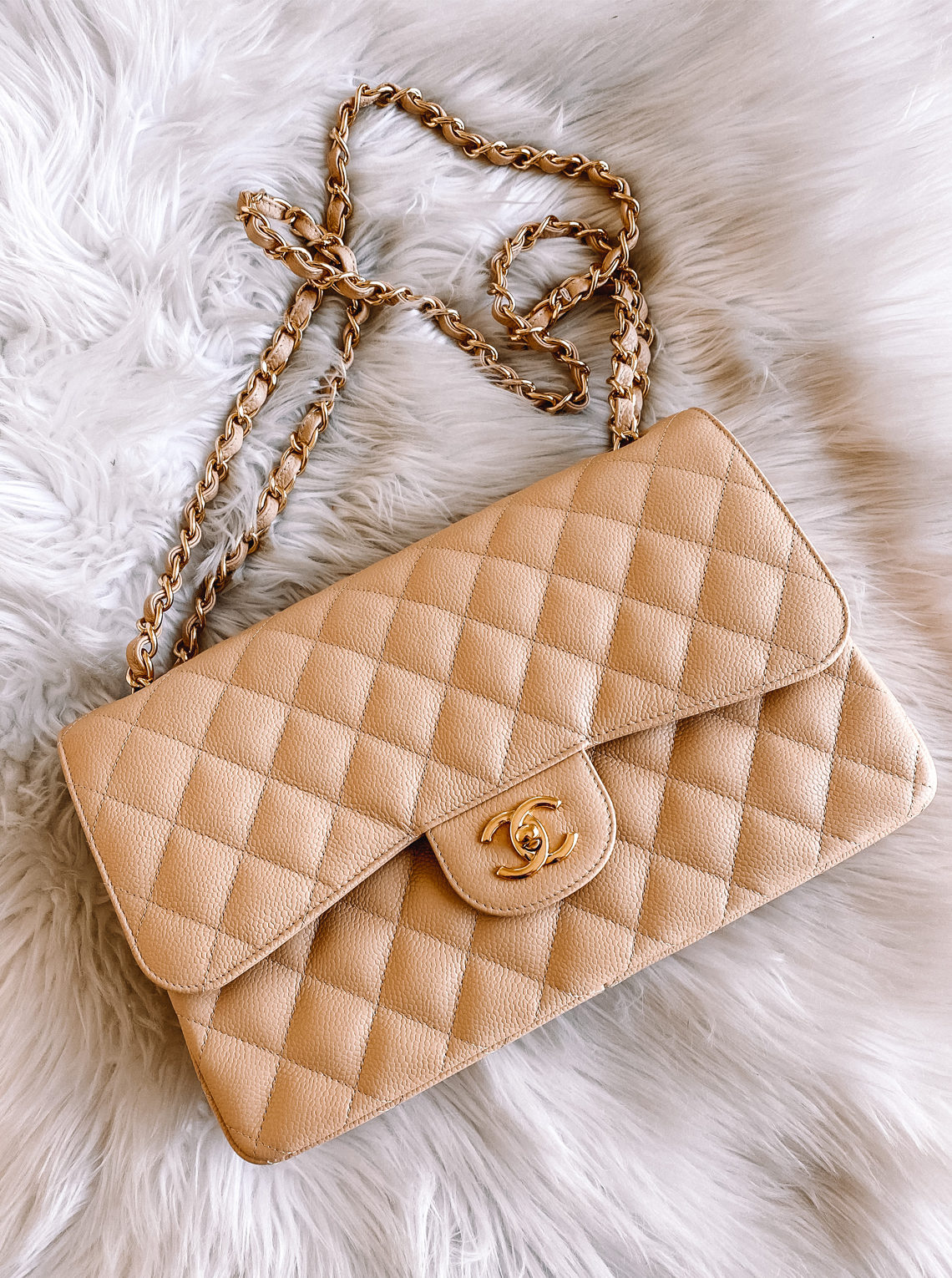 Fashion Jackson Chanel Double Flap Jumbo Beige Clair