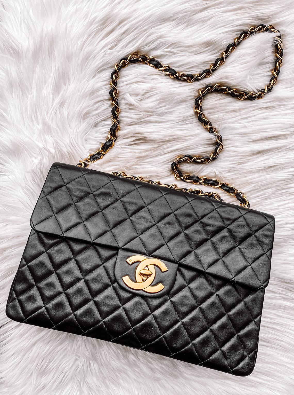 Fashion Jackson Vintage Chanel XL Jumbo Classic Flap Black Handbag