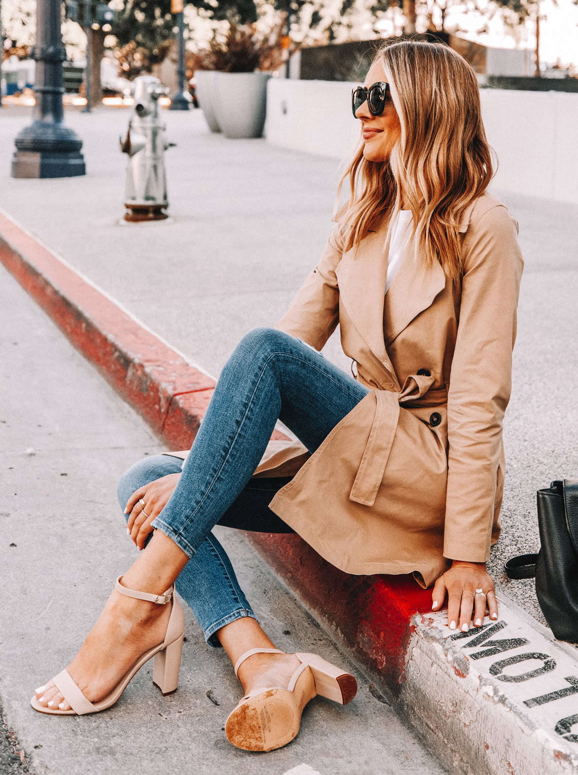 Fashion Jackson Wearing Amazon The Drop Trench Coat Skinny Jeans Heeled Sandals