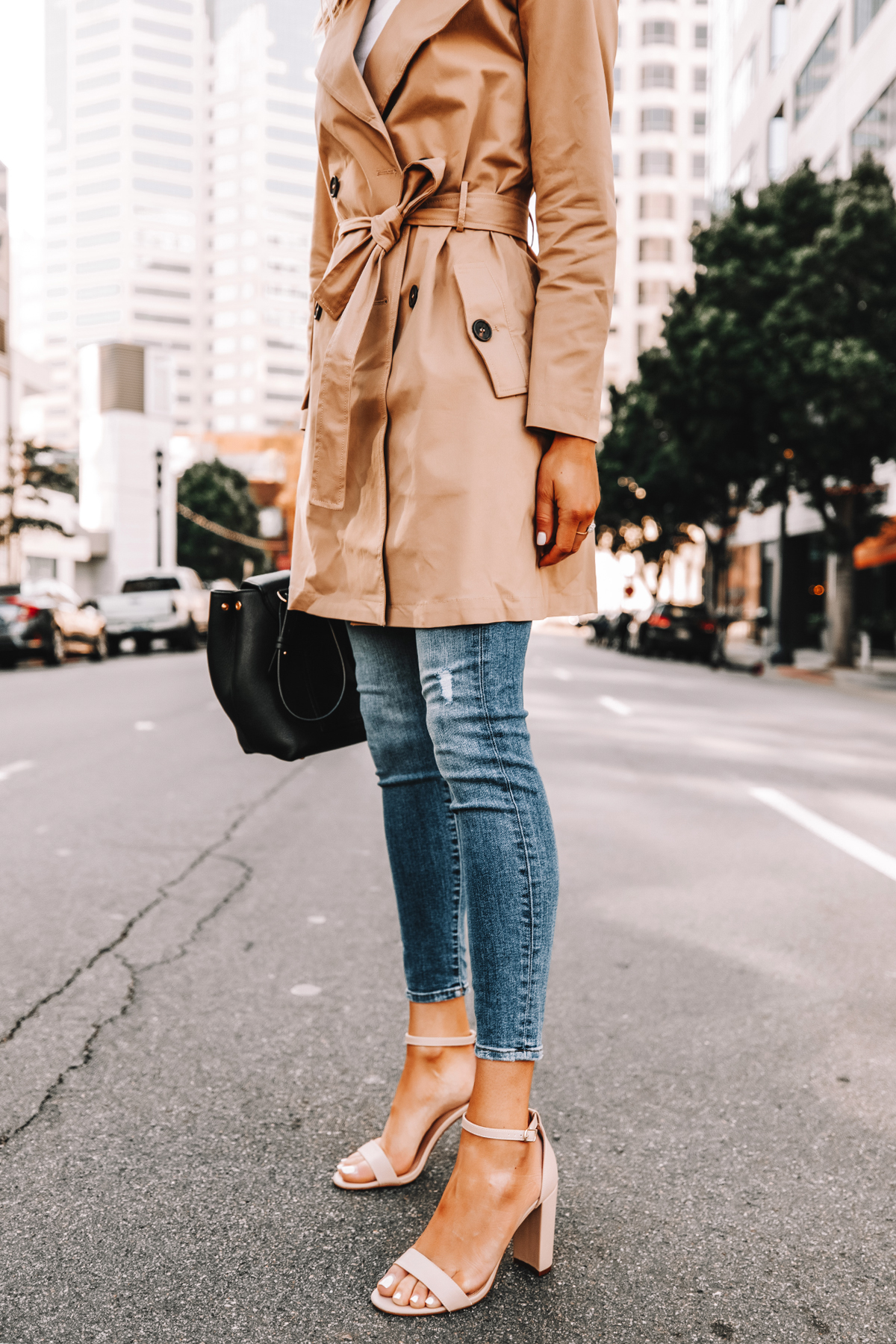 Fashion Jackson Wearing Amazon The Drop Trench Coat Skinny Jeans Nude Ankle Strap Heeled Sandals Street Style 1