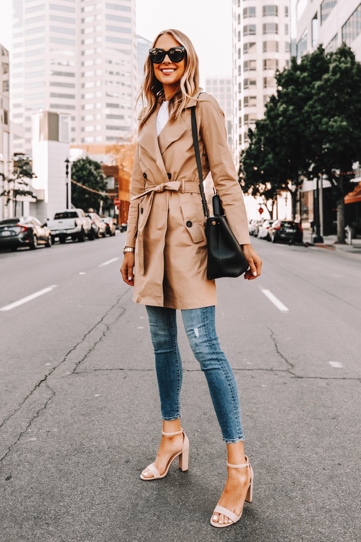 Fashion Jackson Wearing Amazon The Drop Trench Coat Skinny Jeans Nude Ankle Strap Heeled Sandals Street Style 2