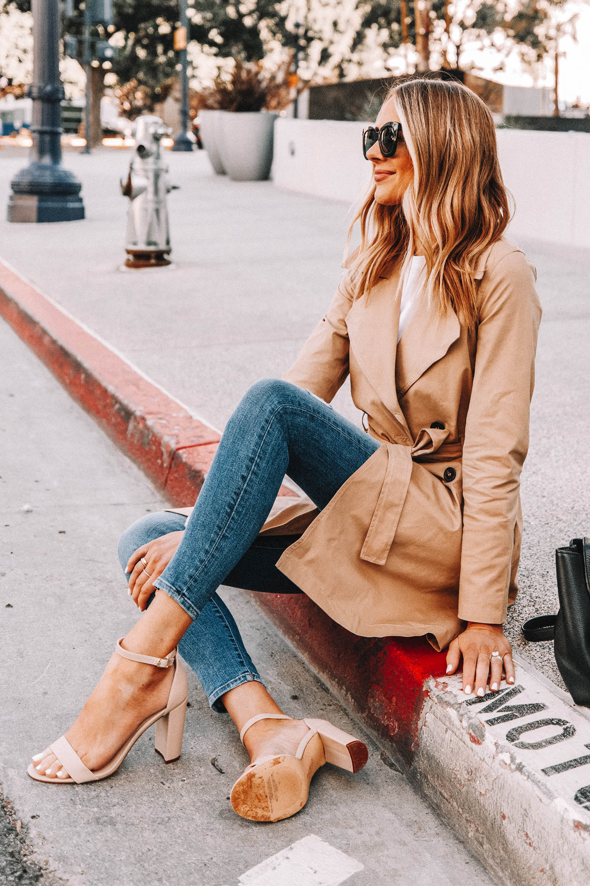 Fashion Jackson Wearing Amazon The Drop Trench Coat Skinny Jeans Nude Ankle Strap Heeled Sandals