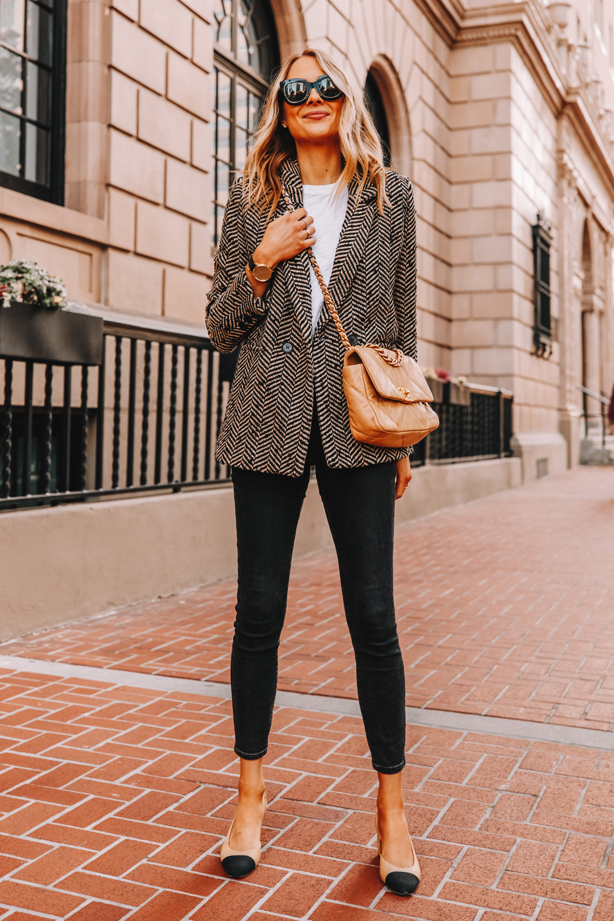 Fashion Jackson Wearing Anine Bing Black Herringbone Blazer White TShirt Black Jeans Chanel Slingbacks Chanel 19 Beige Handbag