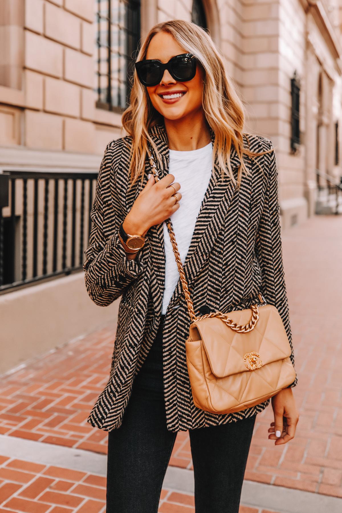 Fashion Jackson Wearing Anine Bing Black Herringbone Blazer White Tshirt Black Jeans Chanel 19 Handbag Garmin Vivomove Smartwatch