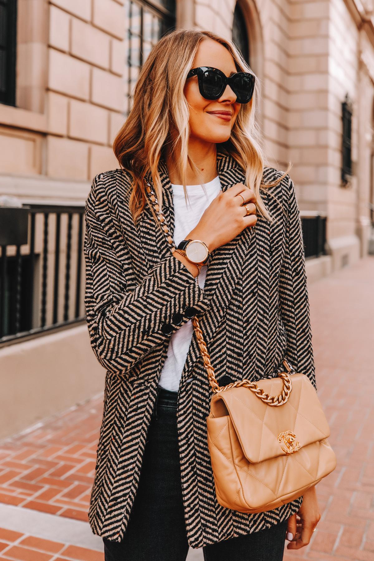 Fashion Jackson Wearing Anine Bing Black Herringbone Blazer White Tshirt Chanel 19 Beige Handbag Garmin Vivomove Luxe Smartwatch