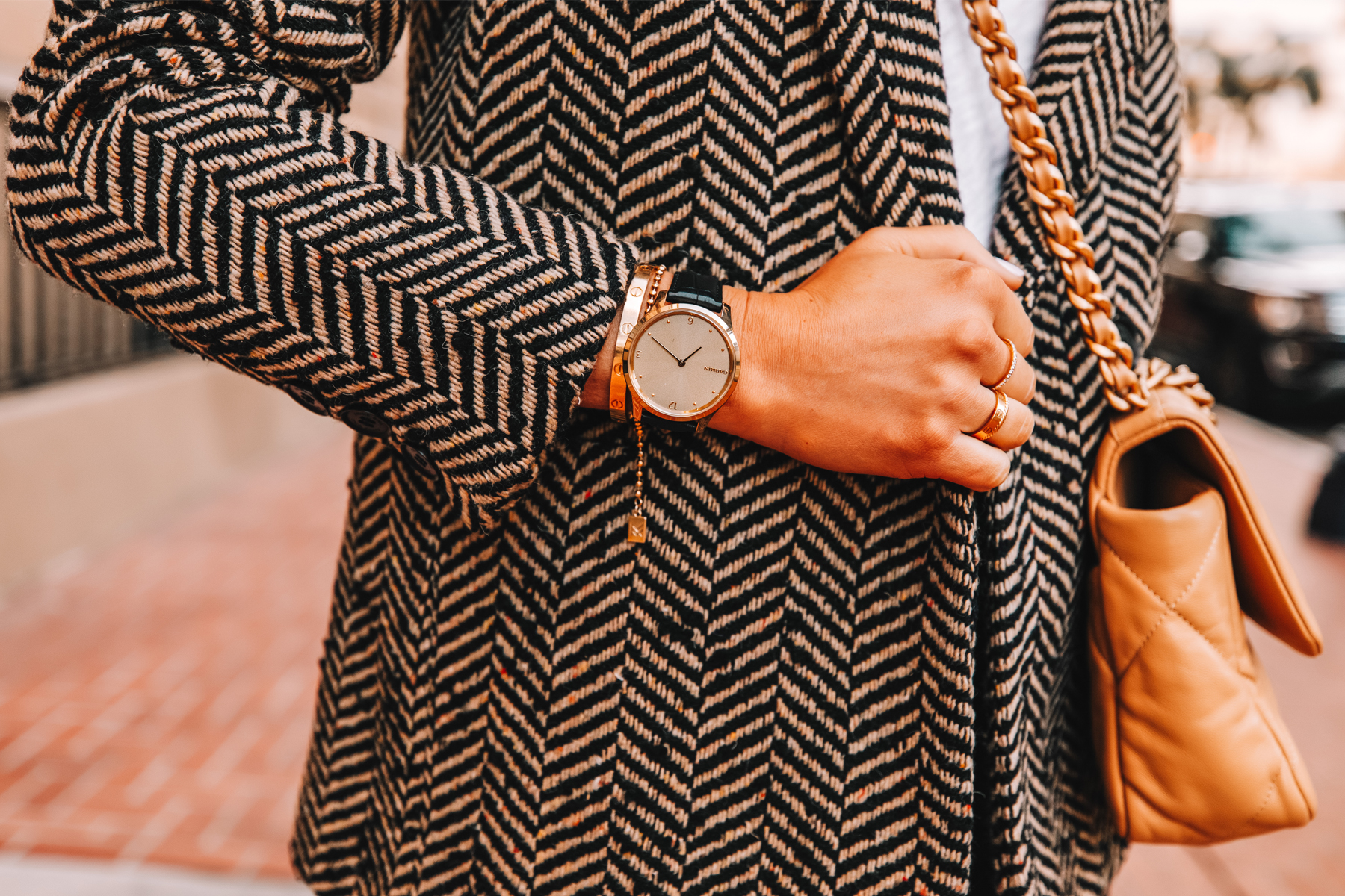 Fashion Jackson Wearing Anine Bing Herringbone Black Blazer Garmin Vivomove Luxe Smartwatch