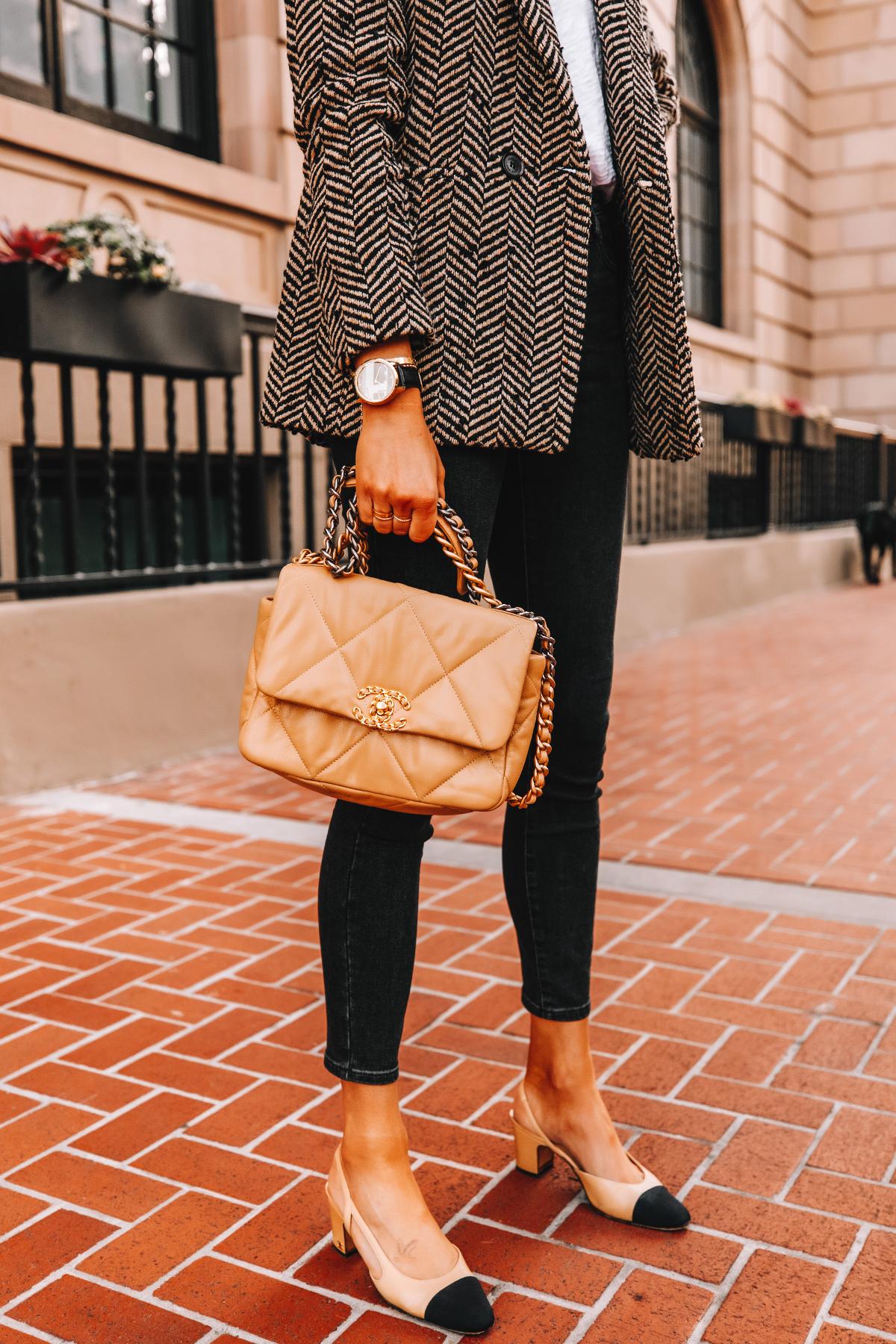 Fashion Jackson Wearing Anine Bing Herringbone Blazer Black Skinny Jeans Chanel Slingbacks Chanel 19 Beige Handbag Garmin Vivomove Smartwatch