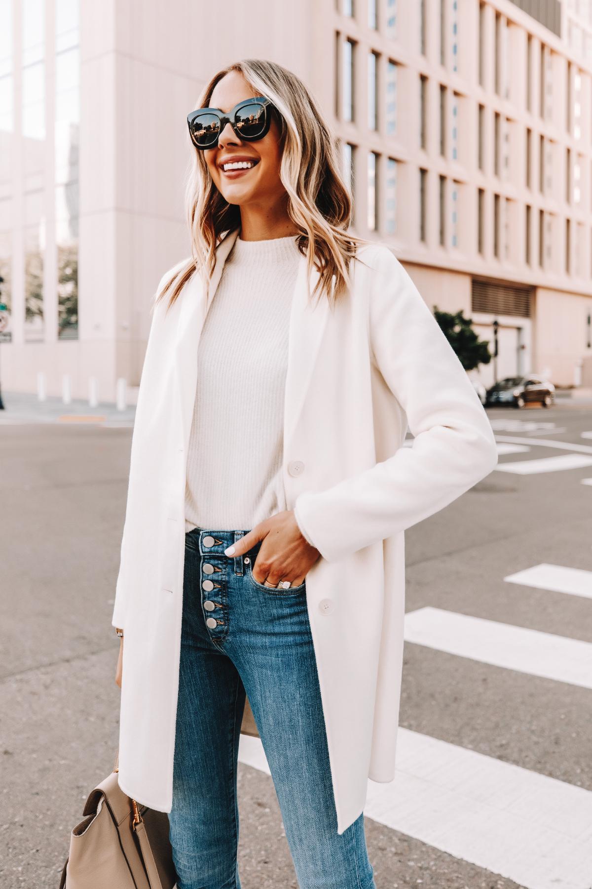 Fashion Jackson Wearing Banana Republic White Topcoat White Sweater Skinny Jeans 1