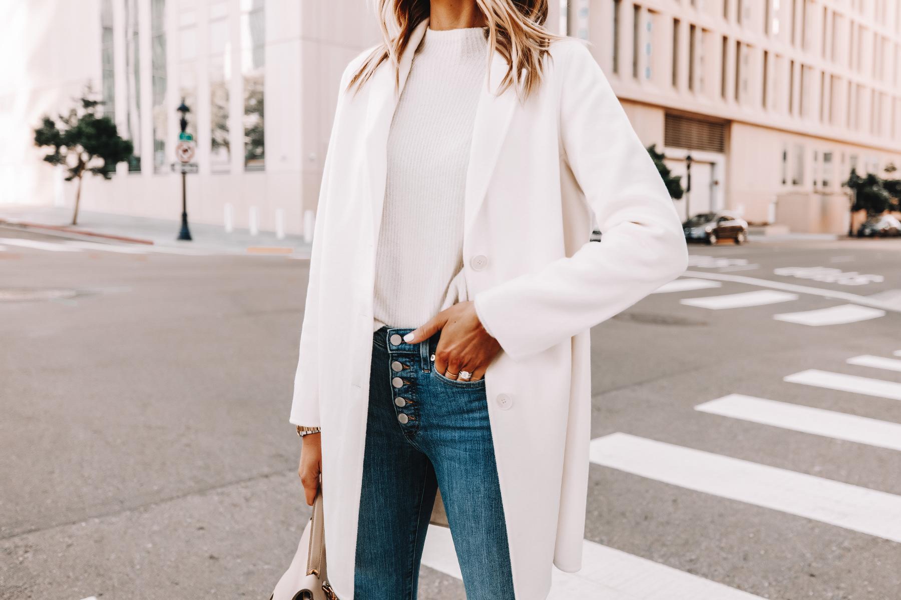 Fashion Jackson Wearing Banana Republic White Topcoat White Sweater Skinny Jeans