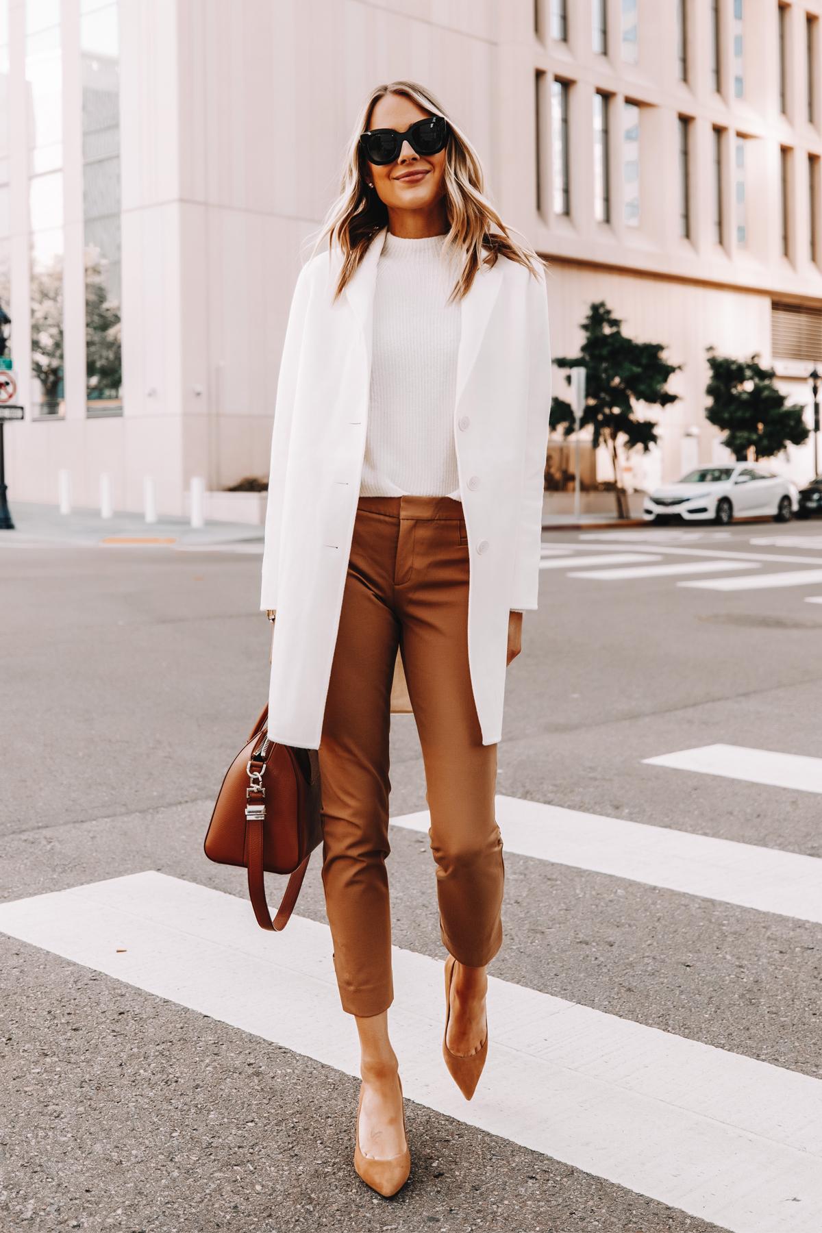 Fashion Jackson Wearing Banana Republic White Topcoat White Sweater Tan Trousers Tan Pumps Workwear Outfit