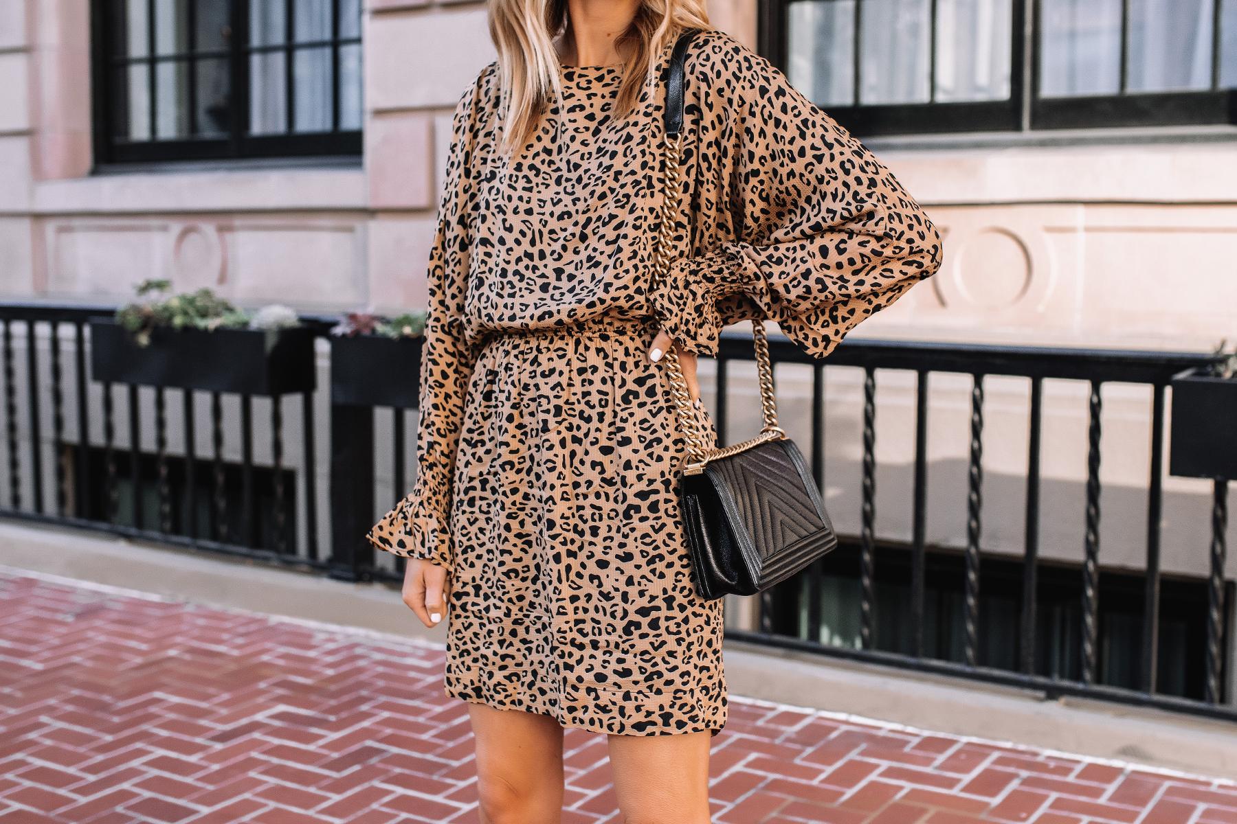 Fashion Jackson Wearing Baum und Pferdgarten Aemiley Drape Leopard Mini Dress 1