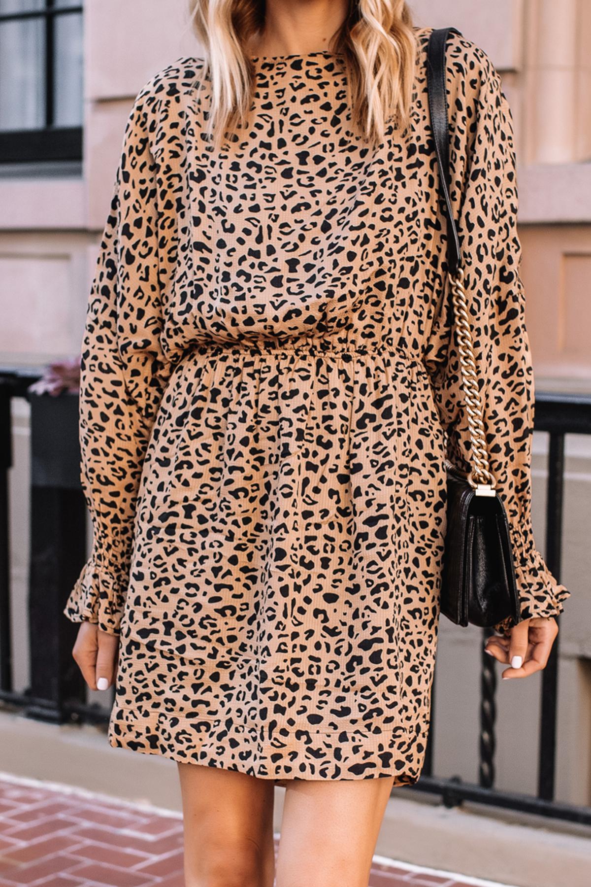 Fashion Jackson Wearing Baum und Pferdgarten Aemiley Drape Leopard Mini Dress 2
