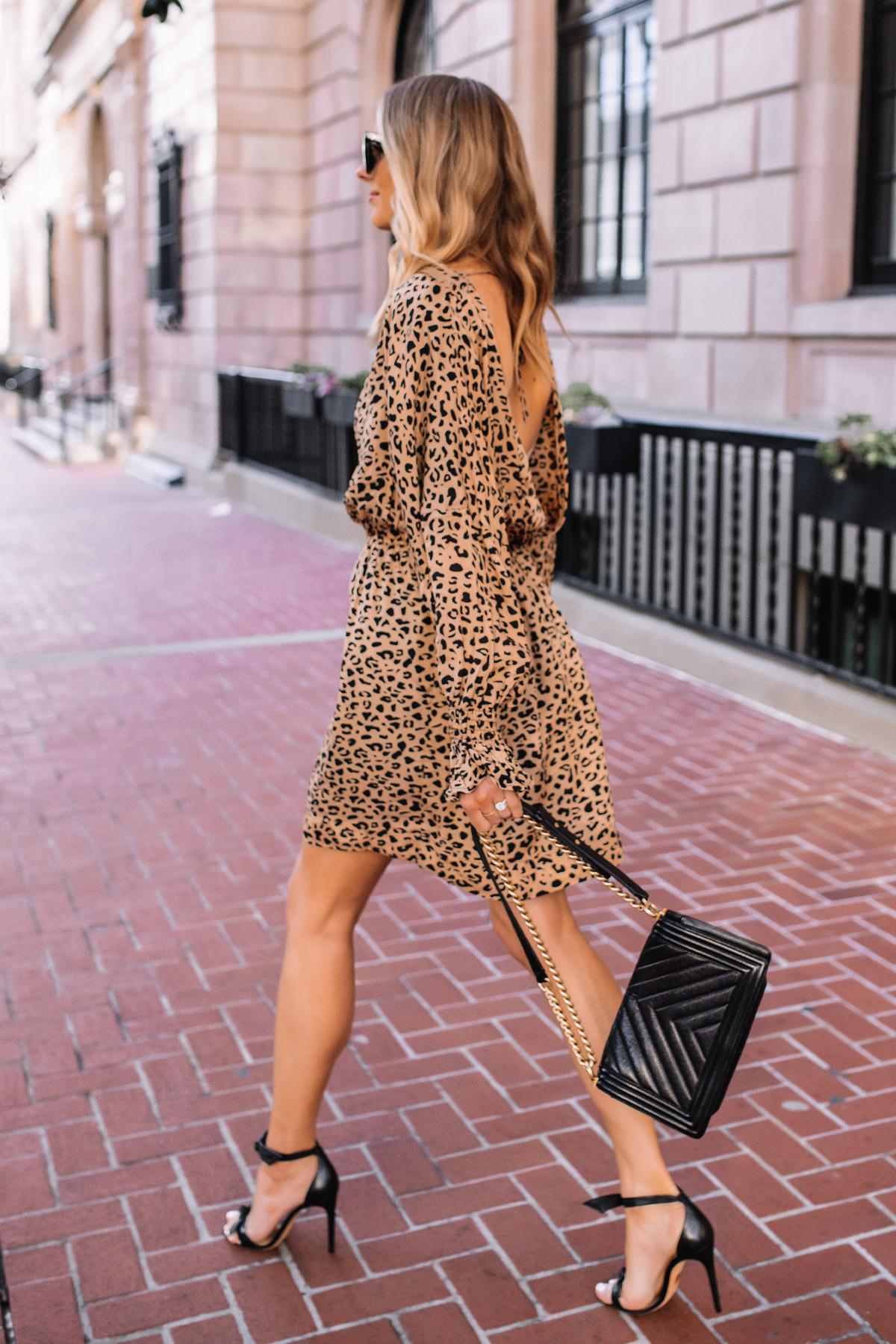 Fashion Jackson Wearing Baum und Pferdgarten Aemiley Drape Leopard Mini Dress Black Heeled Sandals Black Handbag