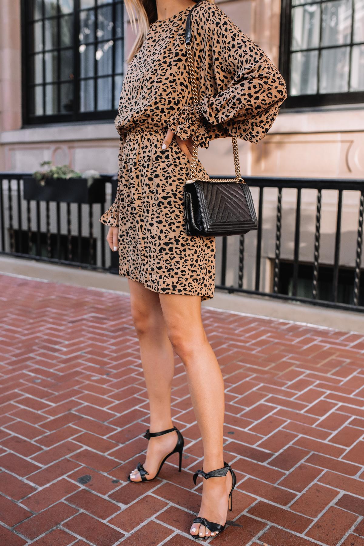 Fashion Jackson Wearing Baum und Pferdgarten Aemiley Drape Leopard Mini Dress Black Heeled Sandals