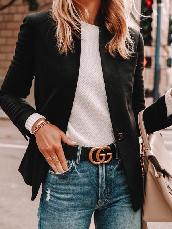 Fashion Jackson Wearing Black Blazer White Sweater Gucci Belt