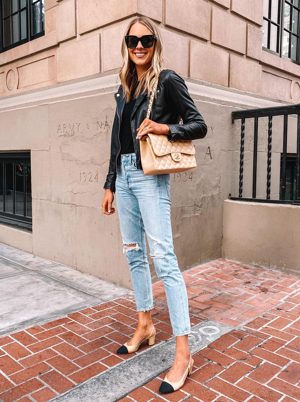 Fashion Jackson Wearing Black Leather Jacket Ripped Jeans Beige Chanel Handbag