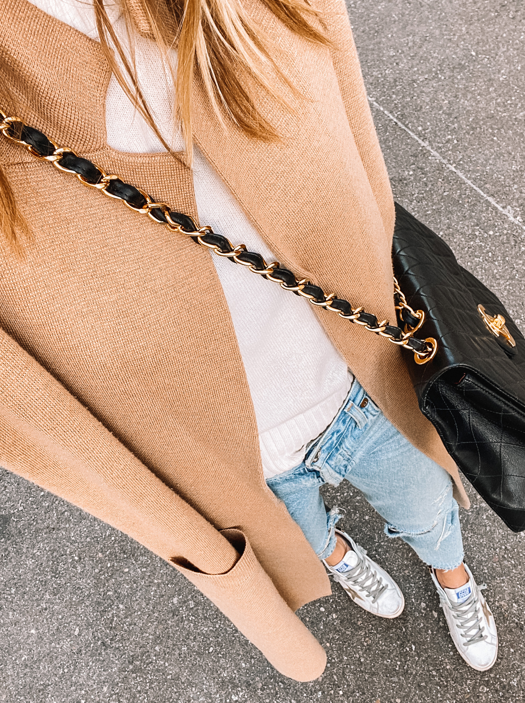 Fashion Jackson Wearing Camel Coatigan Ripped Jeans Golden Goose Sneakers Black Chanel Handbag
