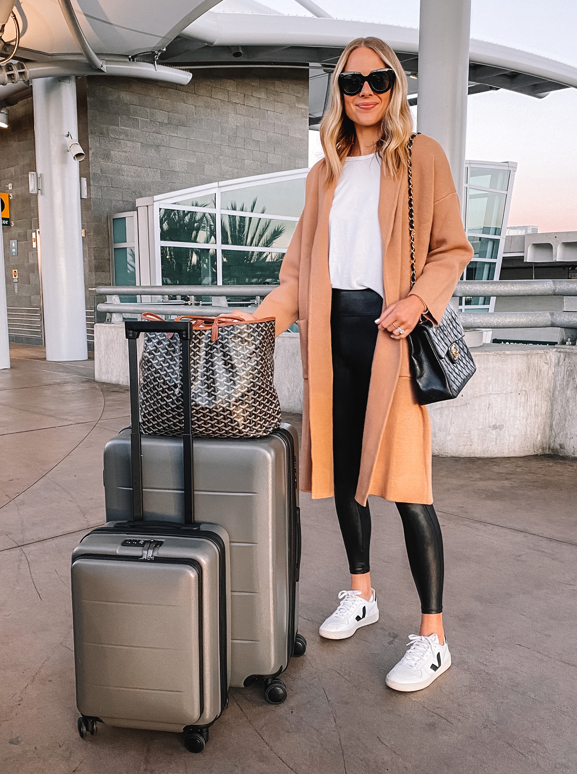 Fashion Jackson Wearing Camel Coatigan Spanx Faux Leather Leggings Veja Sneakers Amazon Luggage Travel Outfit Airport Style