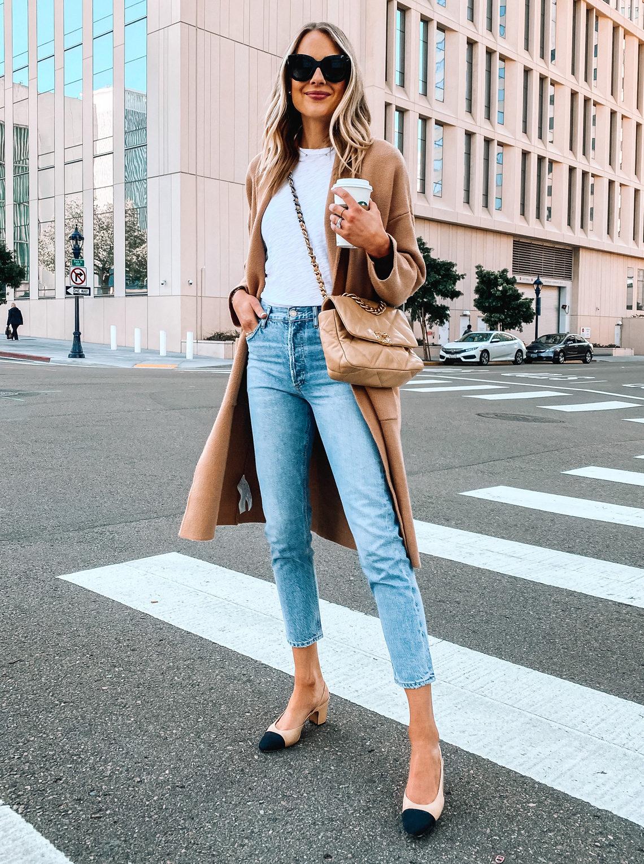 Fashion Jackson Wearing Camel Coatigan White Tshirt Denim Jeans Chanel Slingbacks Chanel 19 Handbag