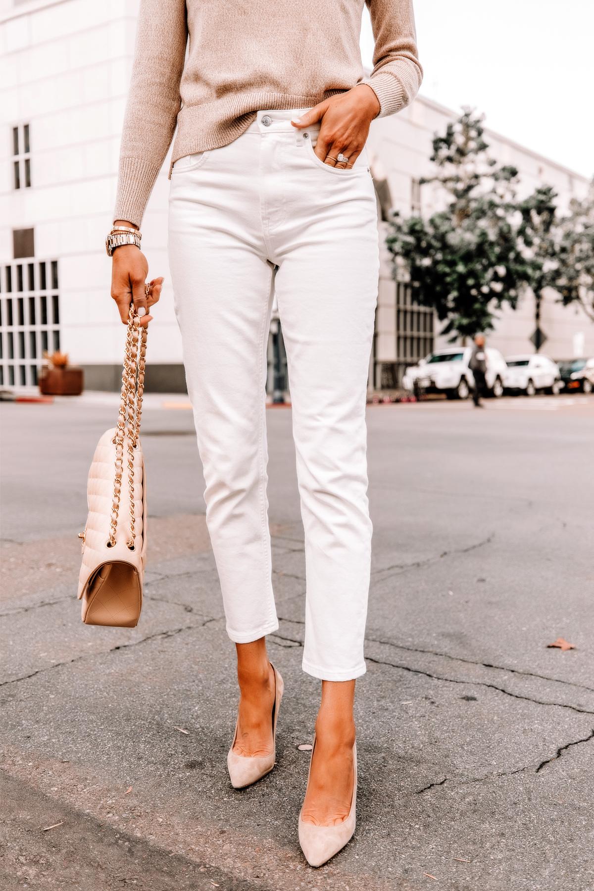 Fashion Jackson Wearing Everlane Beige Sweater Everlane White Cheeky Straight Leg Jeans Nude Heels