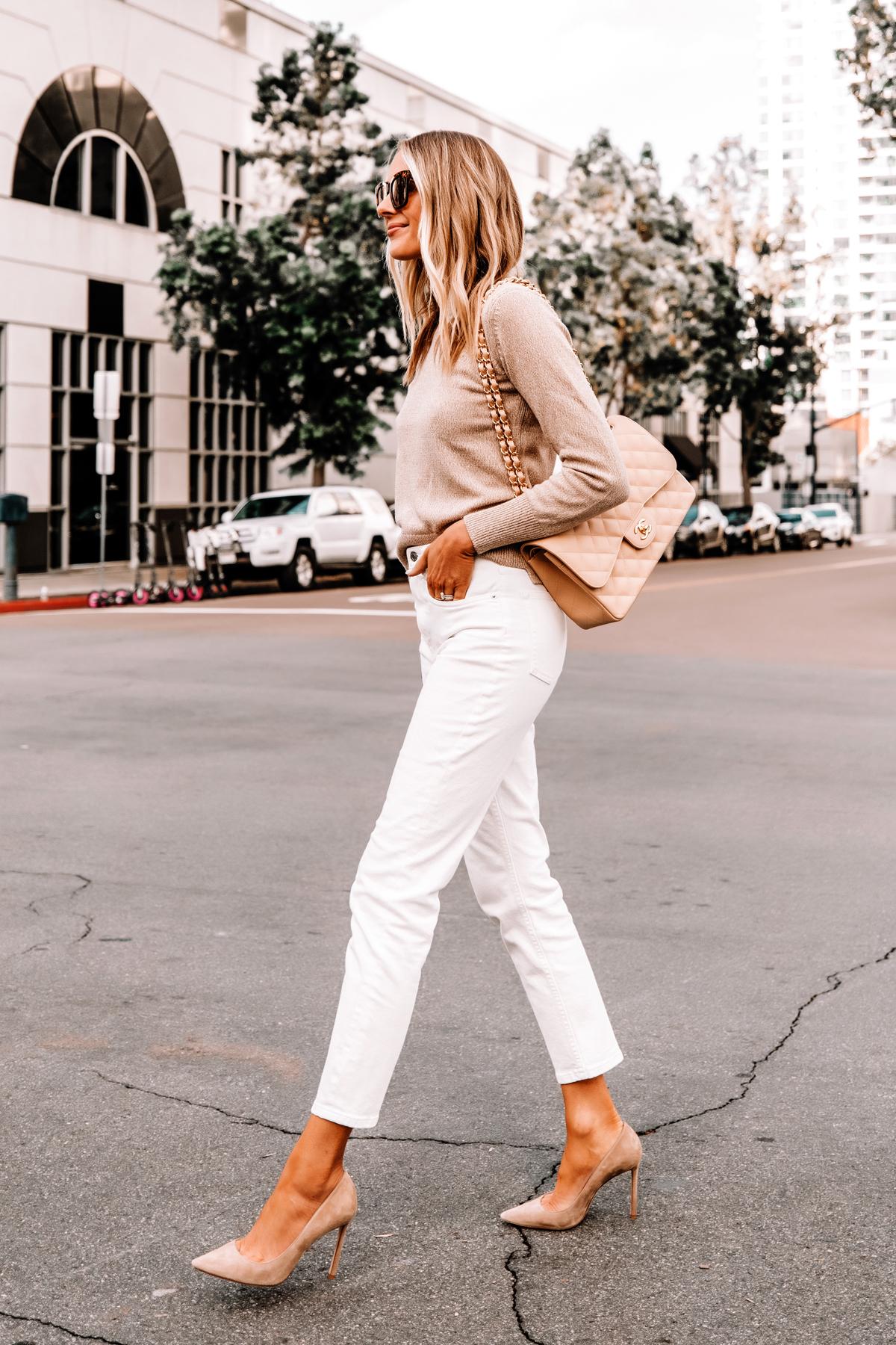 Fashion Jackson Wearing Everlane Beige Sweater Everlane White Jeans Nude Pumps Beige Chanel Handbag