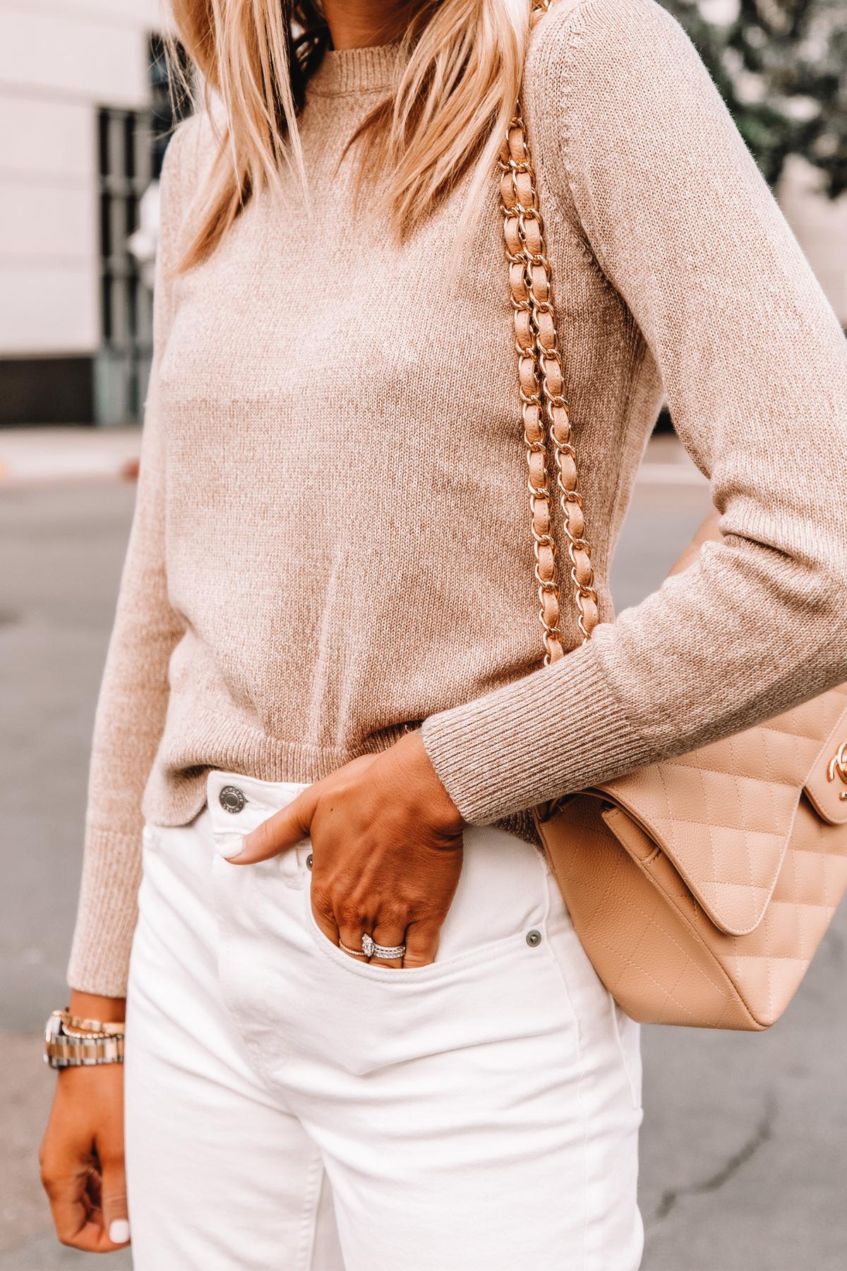 Fashion Jackson Wearing Everlane Beige Sweater Everlane White Jeans