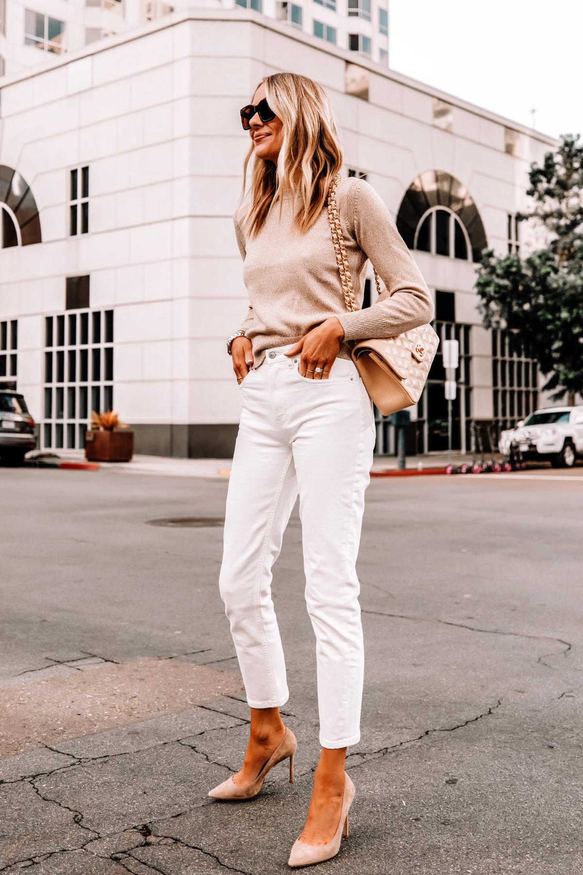 Fashion Jackson Wearing Everlane Beige Sweater Everlane White Straigt Leg Jeans Nude Pumps Beige Chanel Handbag