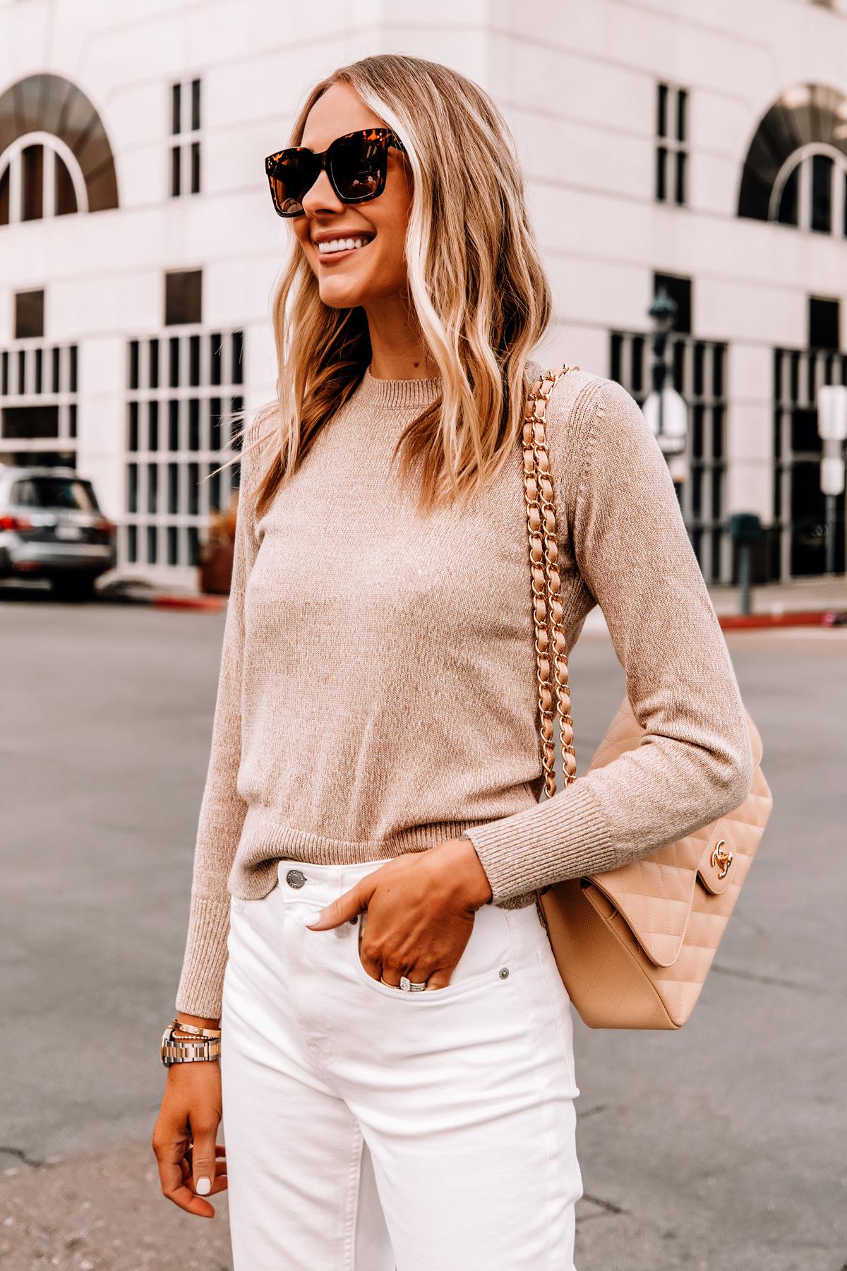 Fashion Jackson Wearing Everlane Beige Sweater White Jeans Beige Chanel Handbag 1