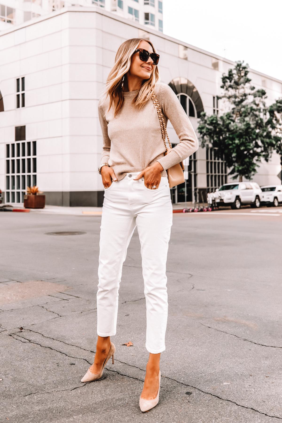 Fashion Jackson Wearing Everlane Beige Sweater White Jeans Nude Pumps Beige Chanel Handbag