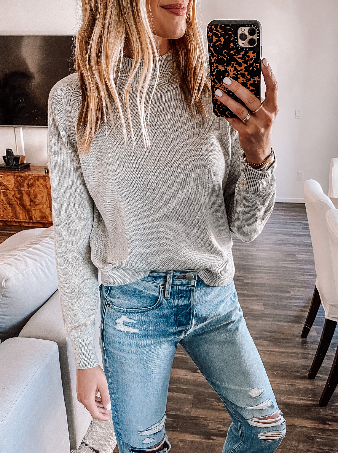 Fashion Jackson Wearing Everlane Grey Mock Neck Sweater small