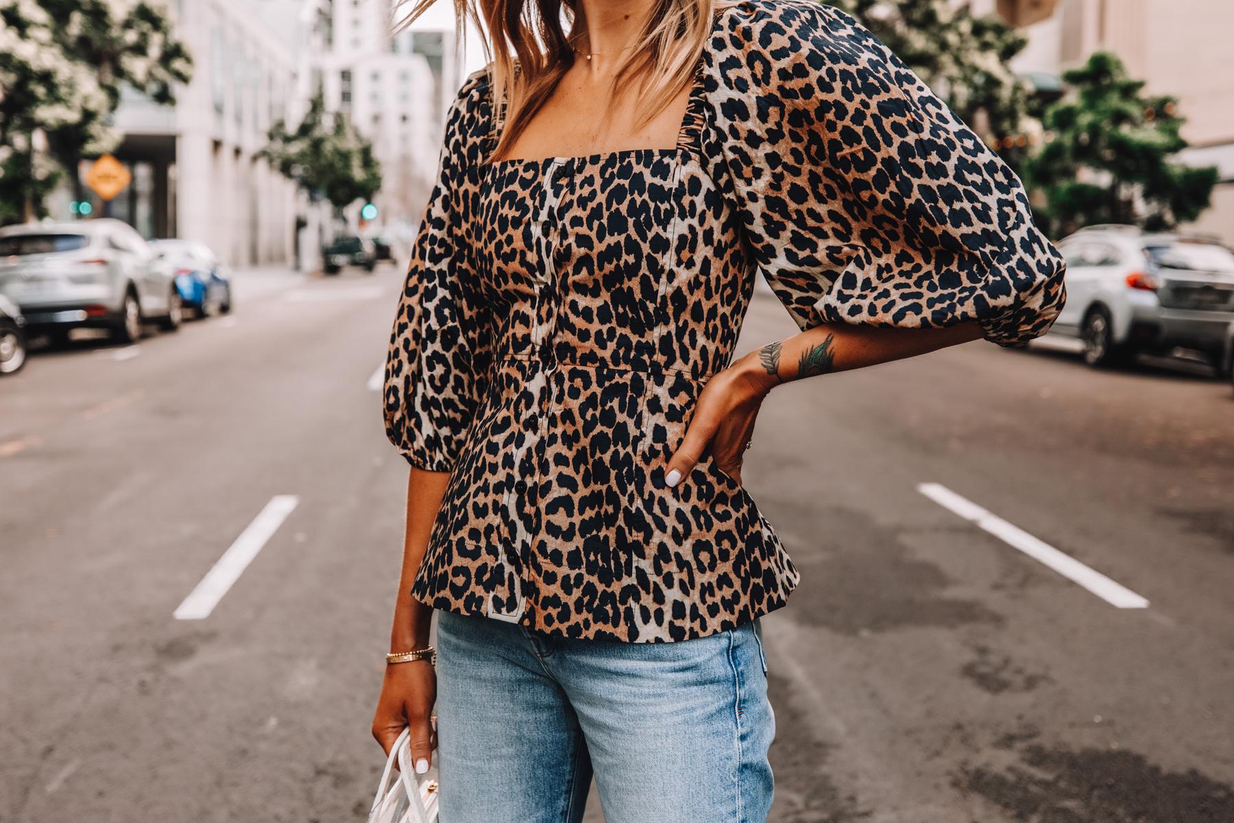 Fashion Jackson Wearing Ganni Leopard Top