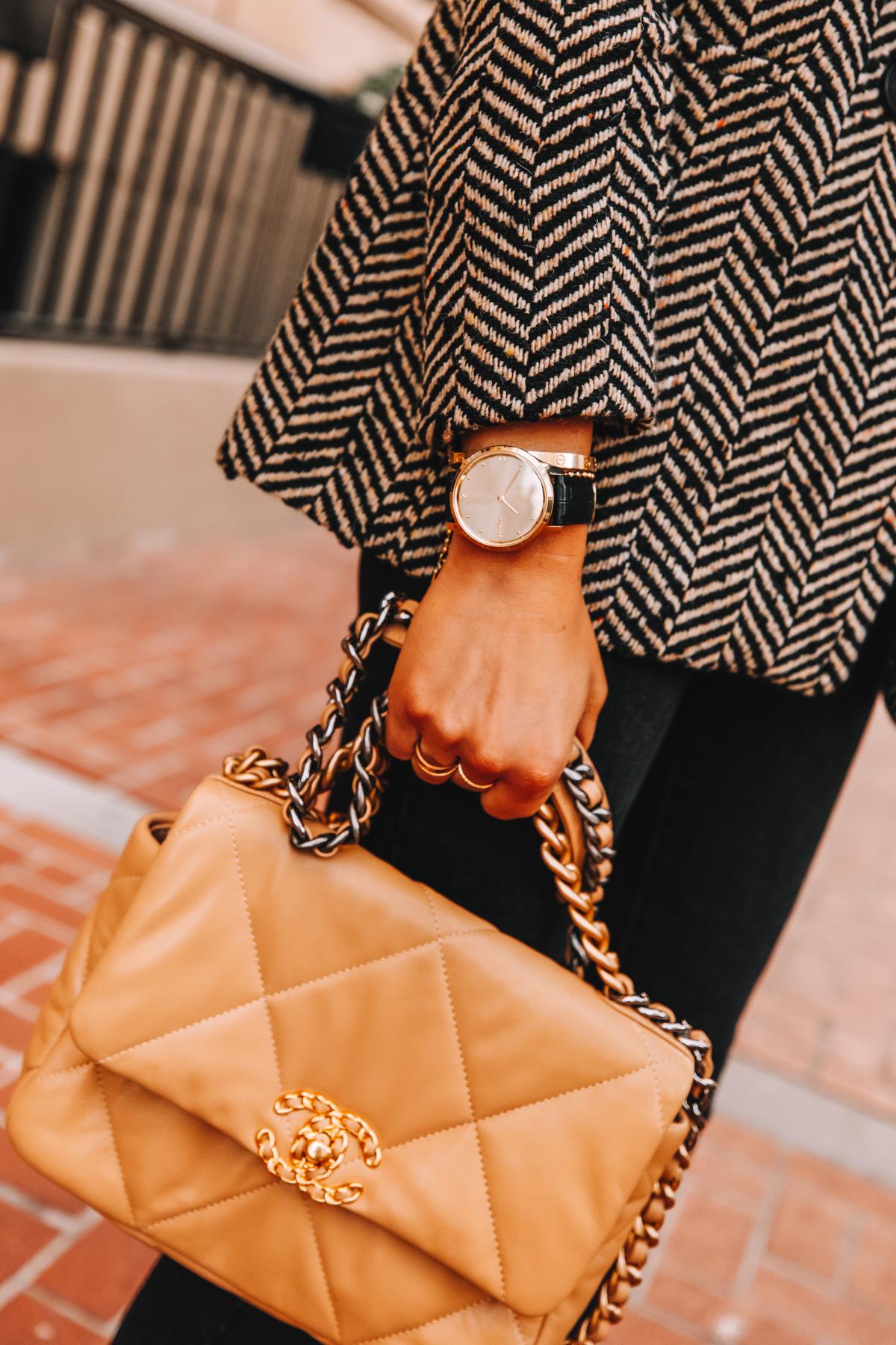 Fashion Jackson Wearing Garmin Vivomove Luxe Smartwatch Chanel 19 Beige Handbag