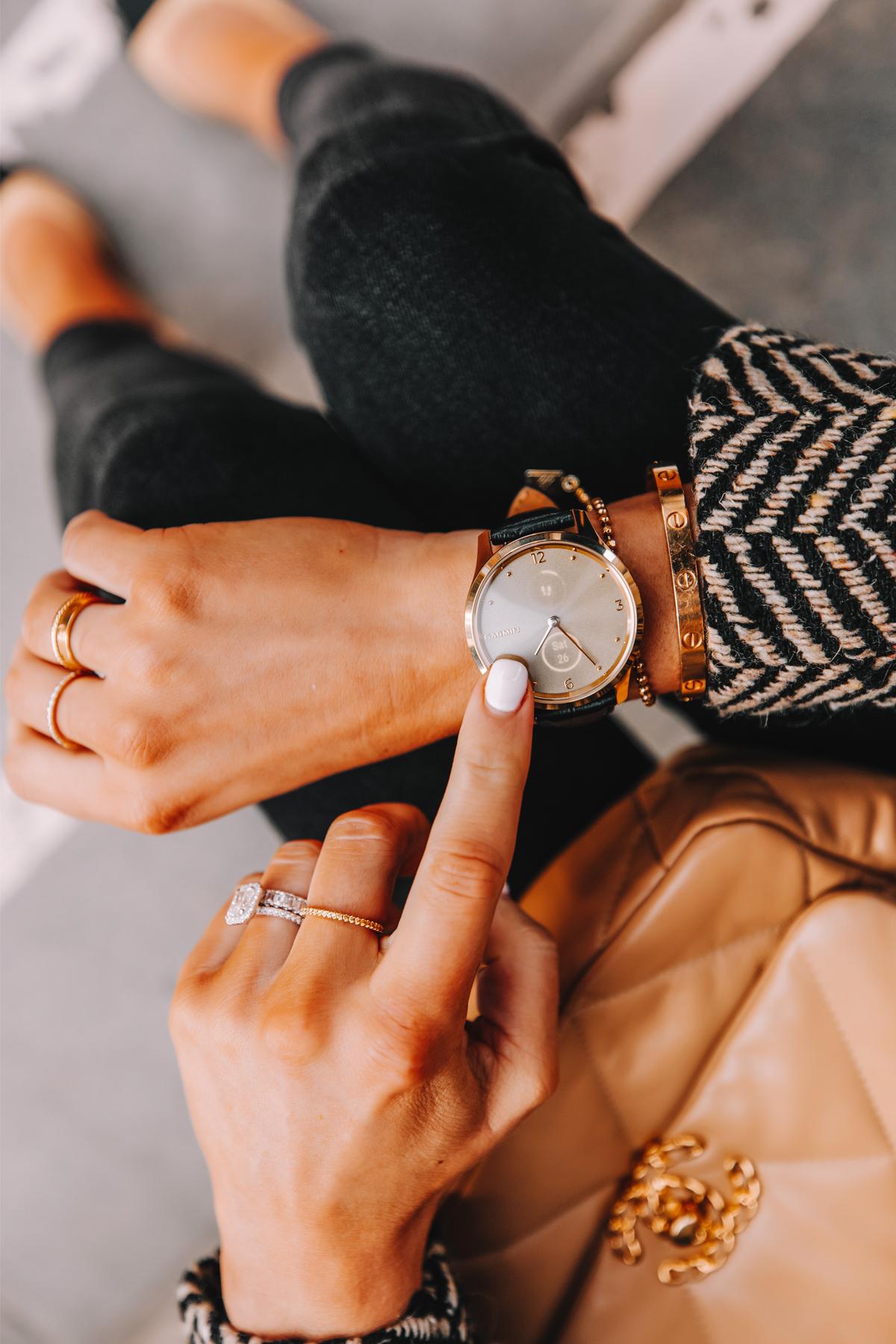 Fashion Jackson Wearing Garmin Vivomove Luxe Watch