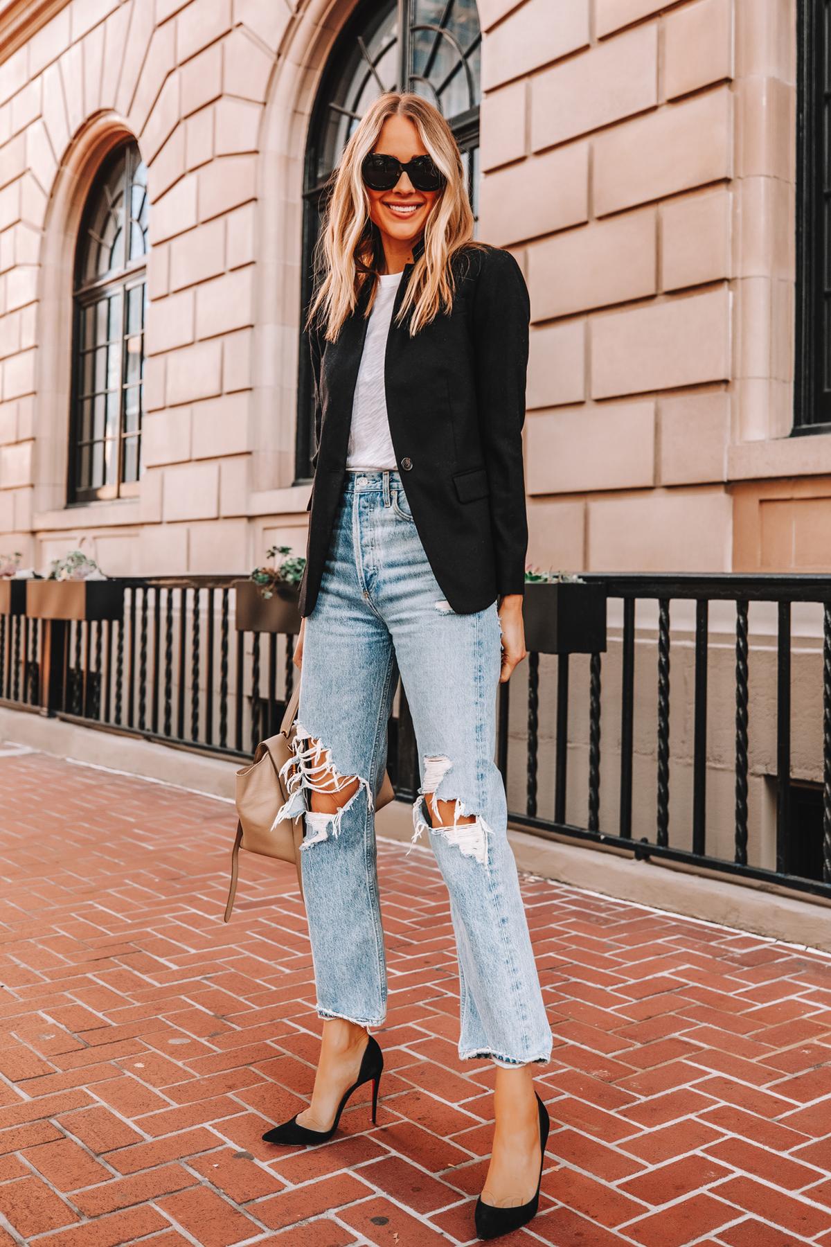 Fashion Jackson Wearing Jcrew Regent Black Blazer ATM White Tshirt AGOLDE Ripped Jeans Black Pumps 1