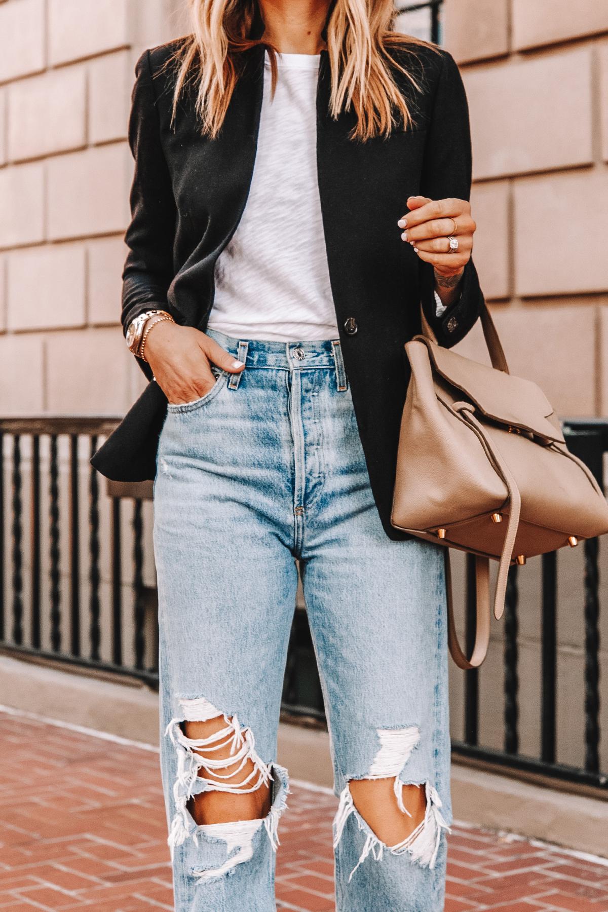 Fashion Jackson Wearing Jcrew Regent Black Blazer ATM White Tshirt AGOLDE Ripped Jeans Celine Belt Bag 1