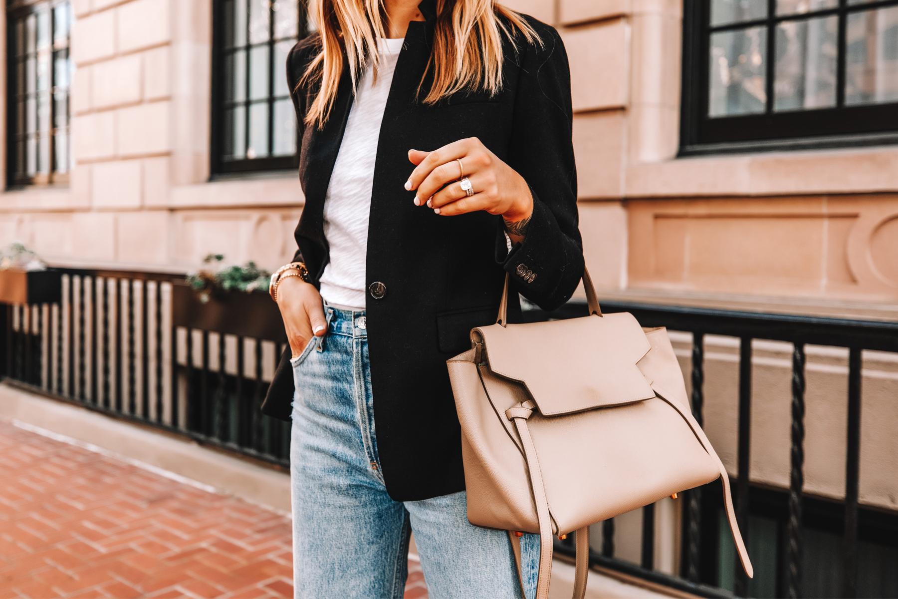 Fashion Jackson Wearing Jcrew Regent Black Blazer ATM White Tshirt AGOLDE Ripped Jeans Celine Belt Bag