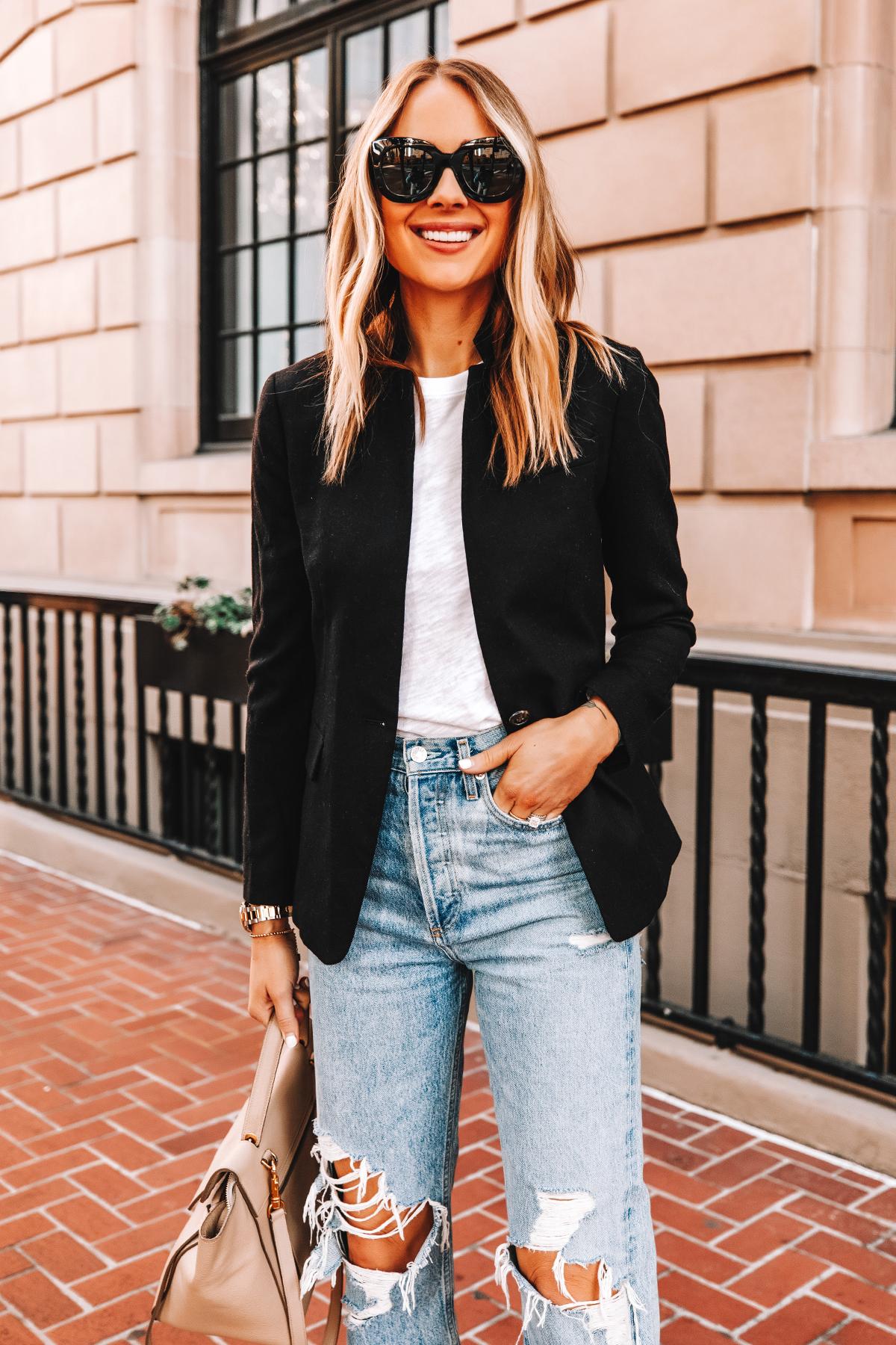 Fashion Jackson Wearing Jcrew Regent Black Blazer ATM White Tshirt AGOLDE Ripped Jeans