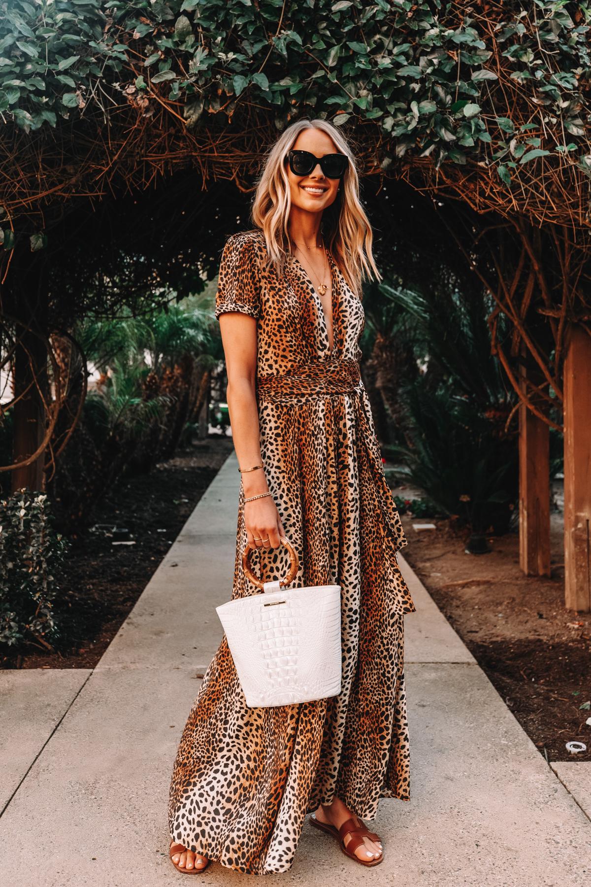 Fashion Jackson Wearing Leopard Maxi Dress Holding Brahmin Mod Bowie White Handbag Hermes Oran Gold Sandals 1