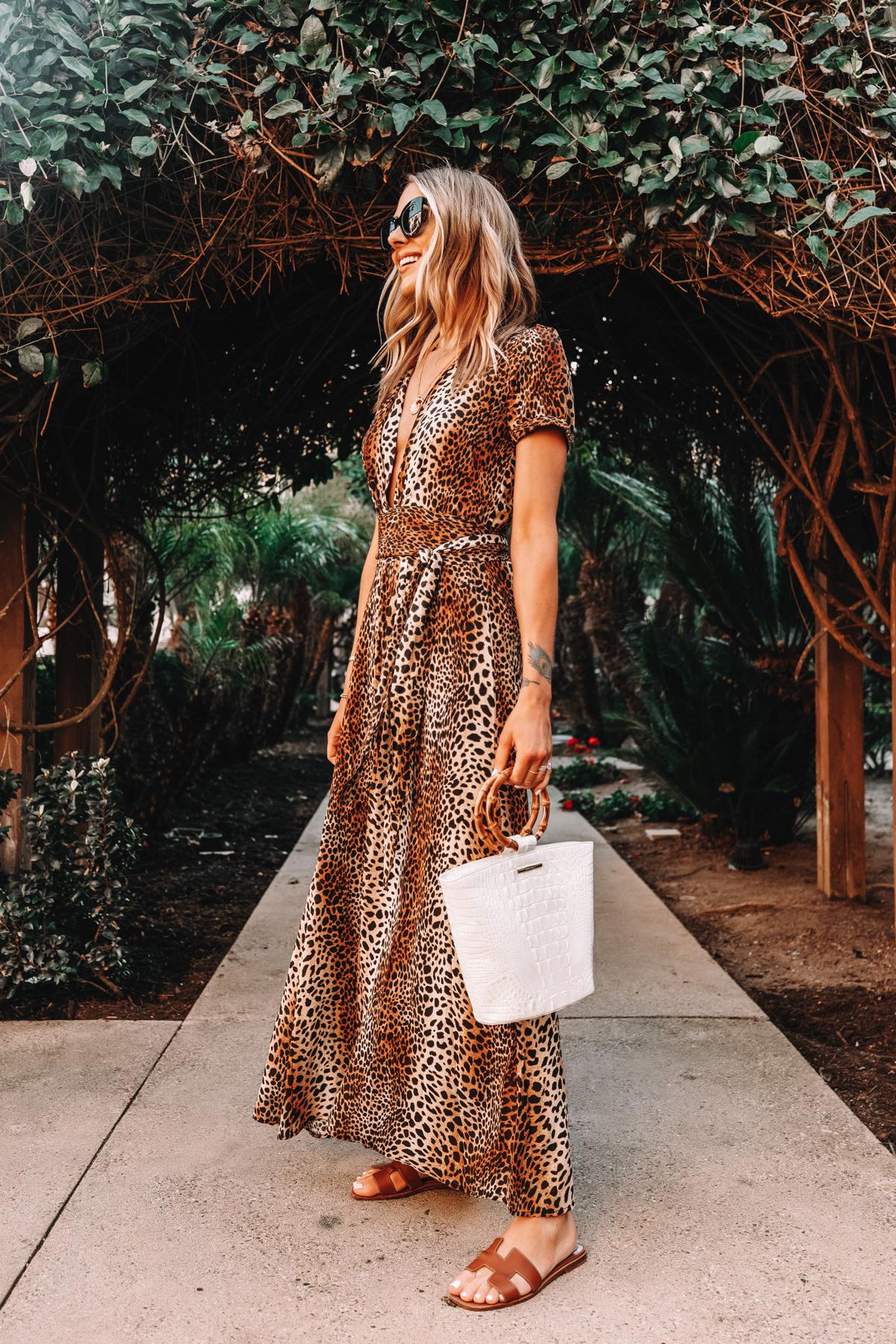 Fashion Jackson Wearing Leopard Maxi Dress Holding Brahmin Mod Bowie White Handbag Hermes Oran Gold Sandals