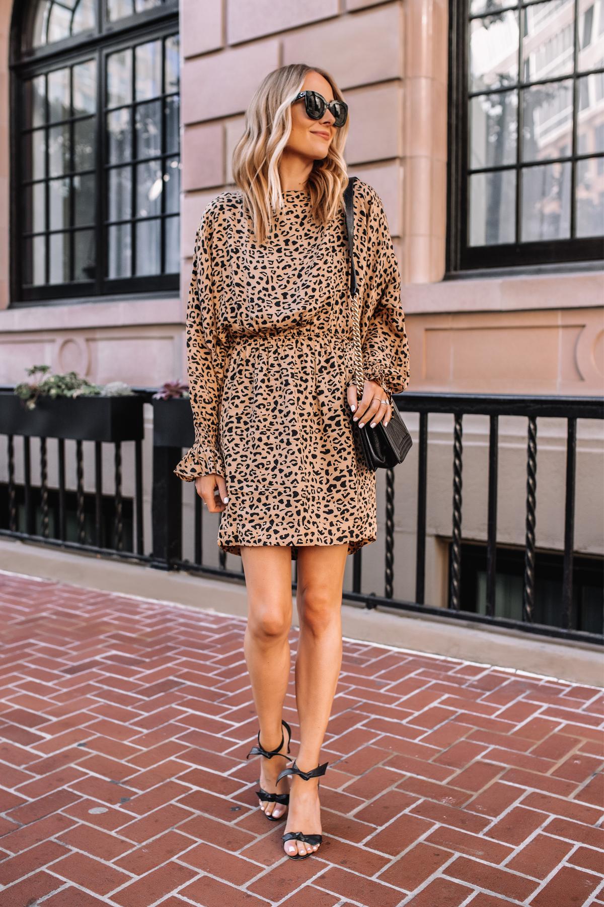 Fashion Jackson Wearing Leopard Mini Dress Black Heeled Sandals
